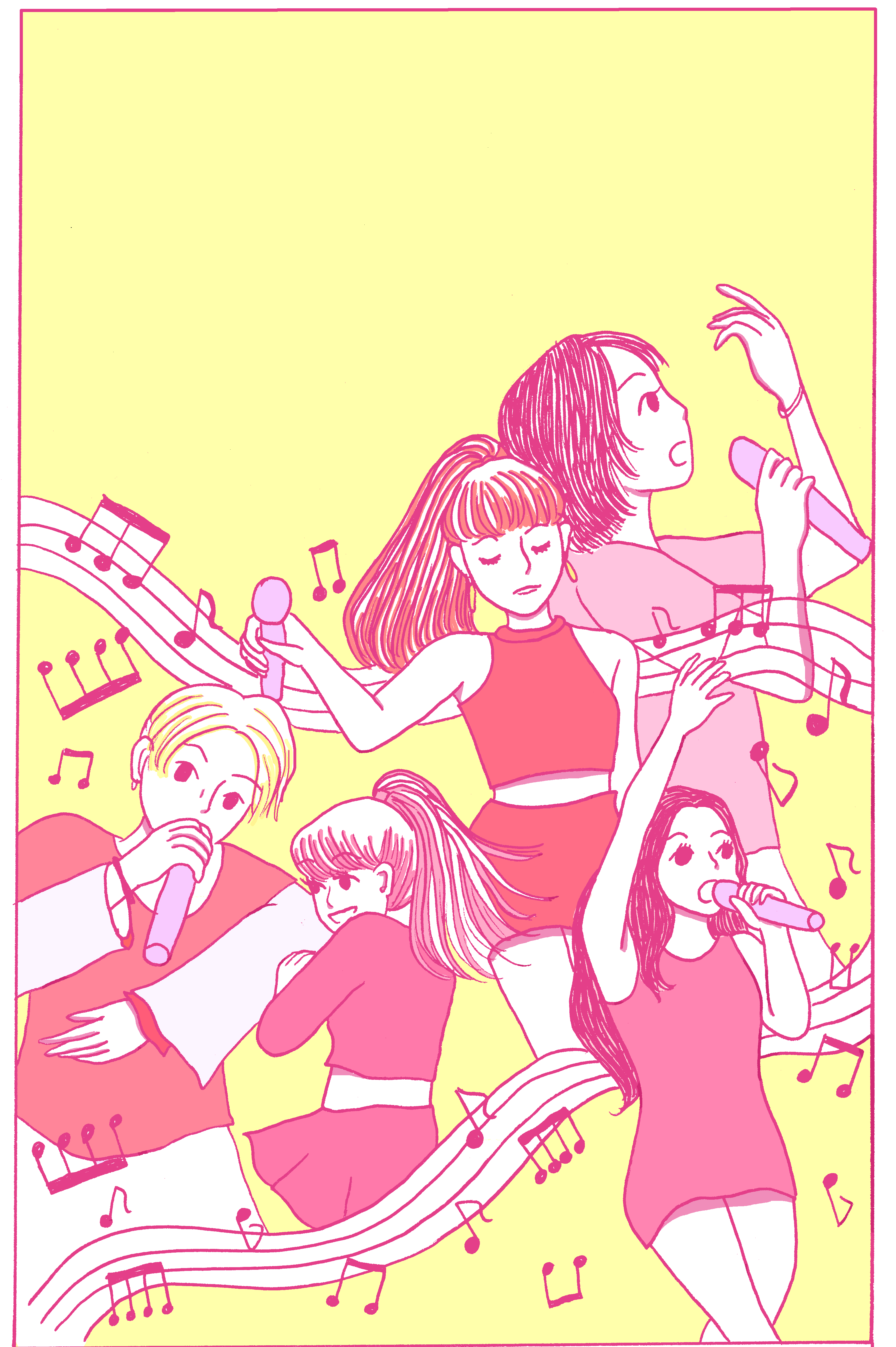 An illustration of a K-pop act.