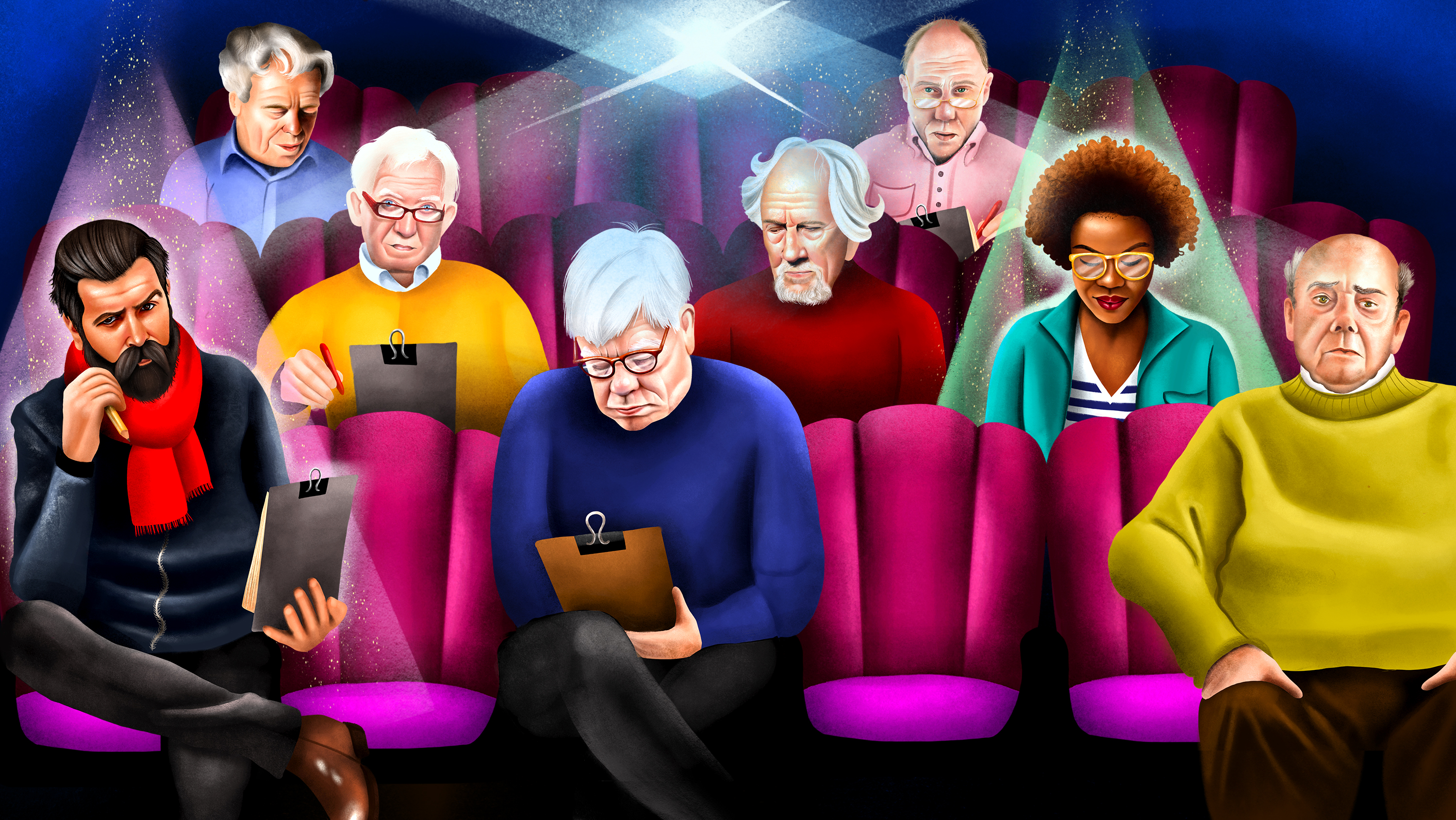 Illustration of a theater full of critics, mostly white men with few people of color.