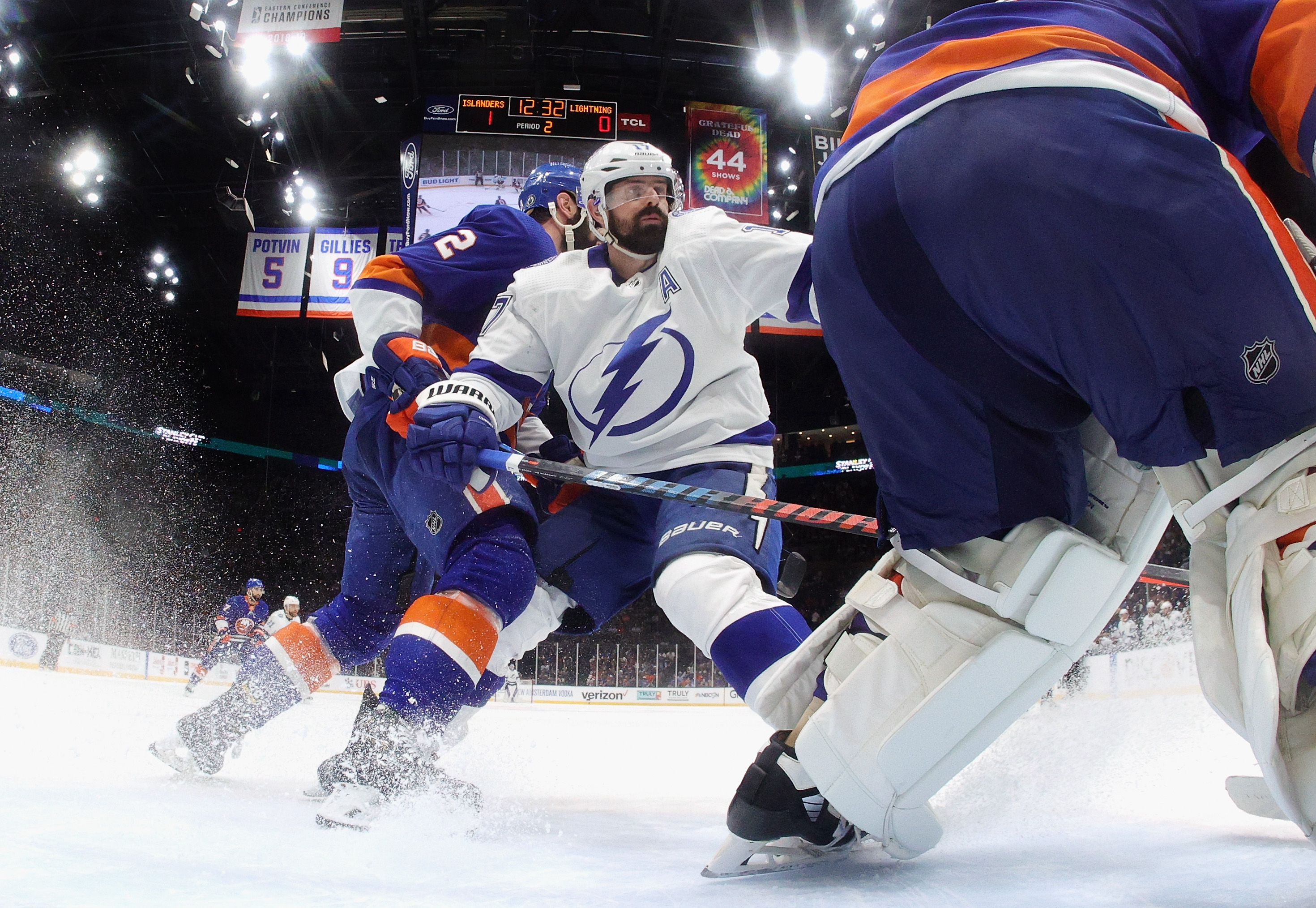 Alex Killorn #17 of the Tampa Bay Lightning skates against the New York Islanders in Game Four of the Stanley Cup Semifinals during the 2021 Stanley Cup Playoffs at the Nassau Coliseum on June 19, 2021 in Uniondale, New York. The Islanders defeated the Lightning 3-2.