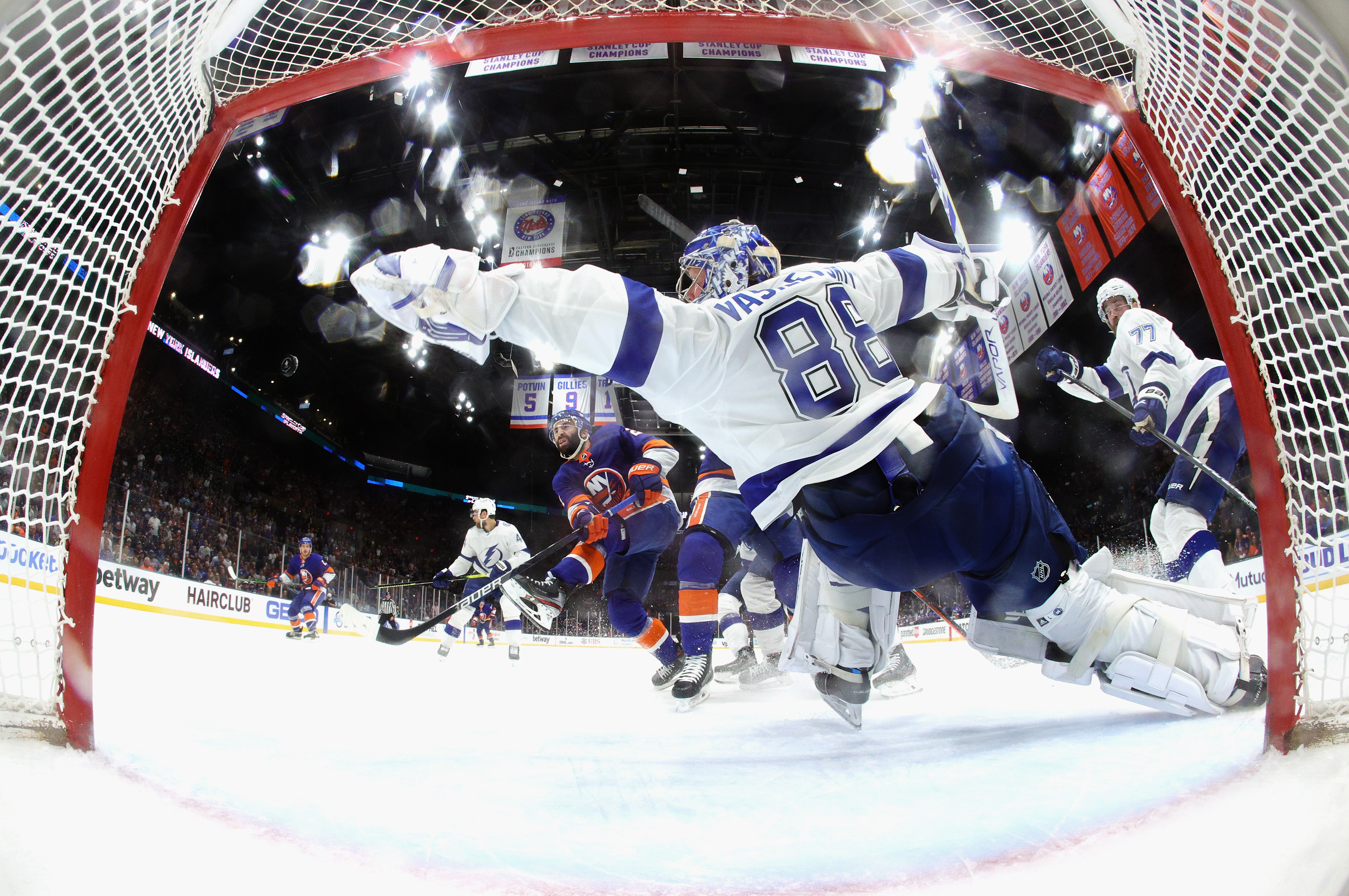 Andrei Vasilevskiy #88 of the Tampa Bay Lightning skates against the New York Islanders in Game Four of the Stanley Cup Semifinals during the 2021 Stanley Cup Playoffs at the Nassau Coliseum on June 19, 2021 in Uniondale, New York. The Islanders defeated the Lightning 3-2.