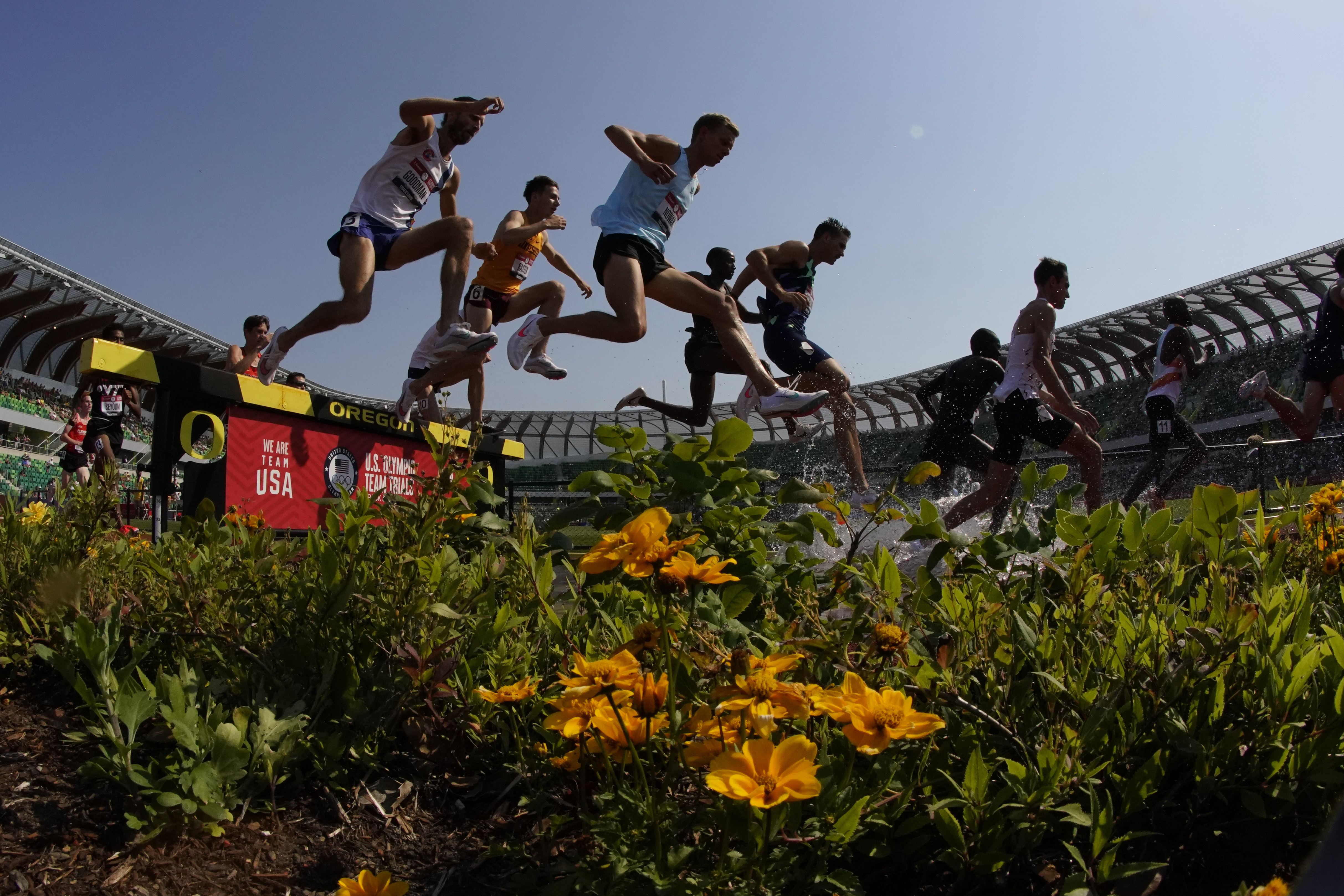 Runners compete in the men's 3,000-meter steeplechase at the U.S. Olympic Track and Field Trials.
