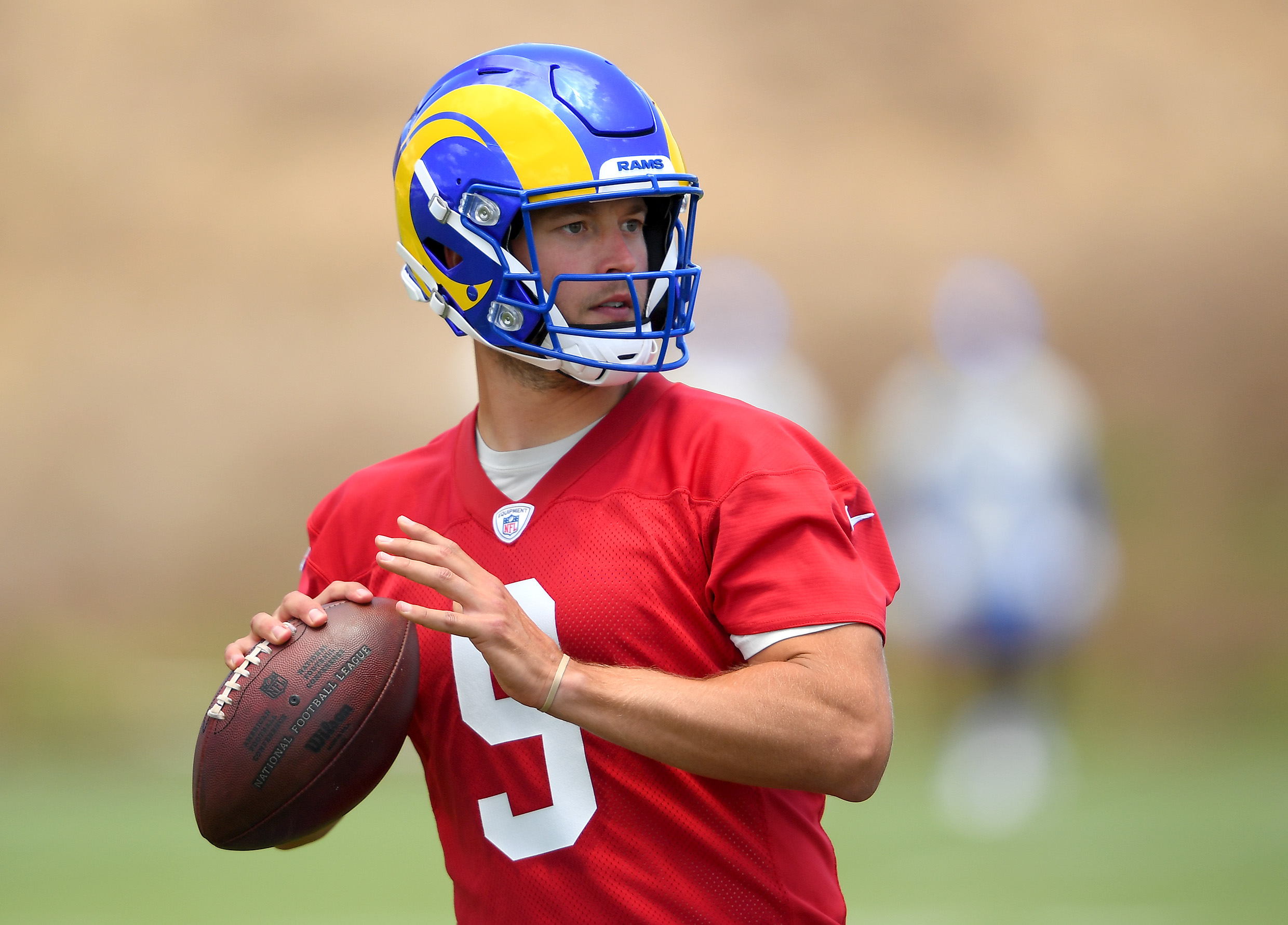 Los Angeles Rams quarterback Matthew Stafford runs through drills during mini camp held at the team practice facility at Cal State Lutheran.