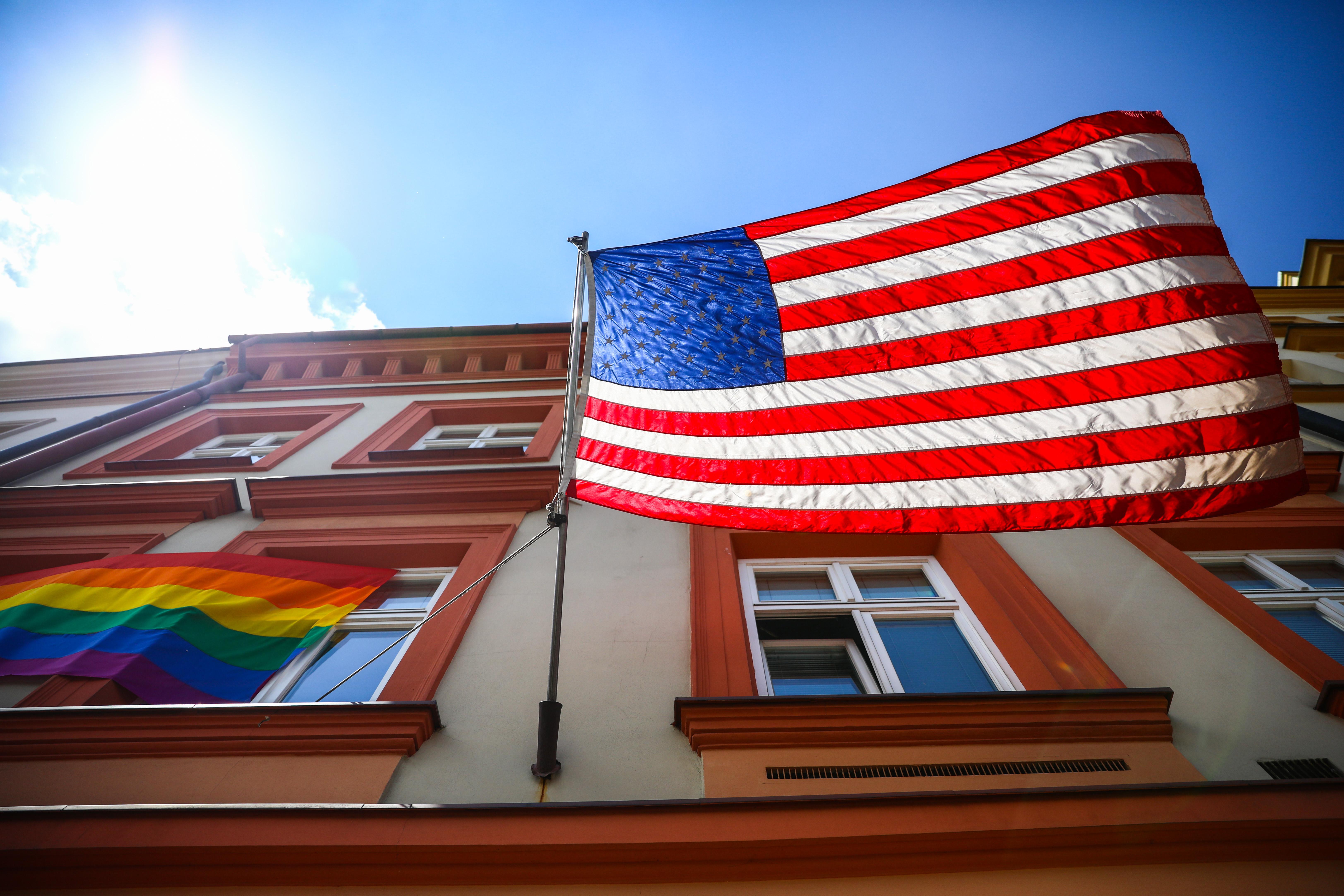Rainbow Flag On US Consulate General In Krakow, Poland