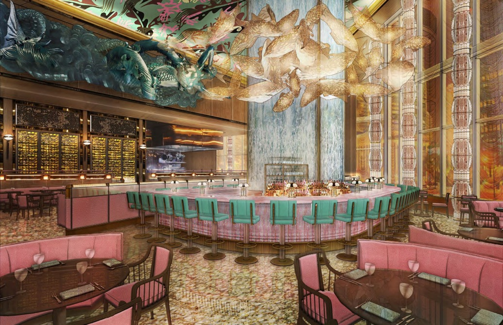 drawing of a dining room with a large bar in the middle, pink chairs all around, gold flowers adorning the top