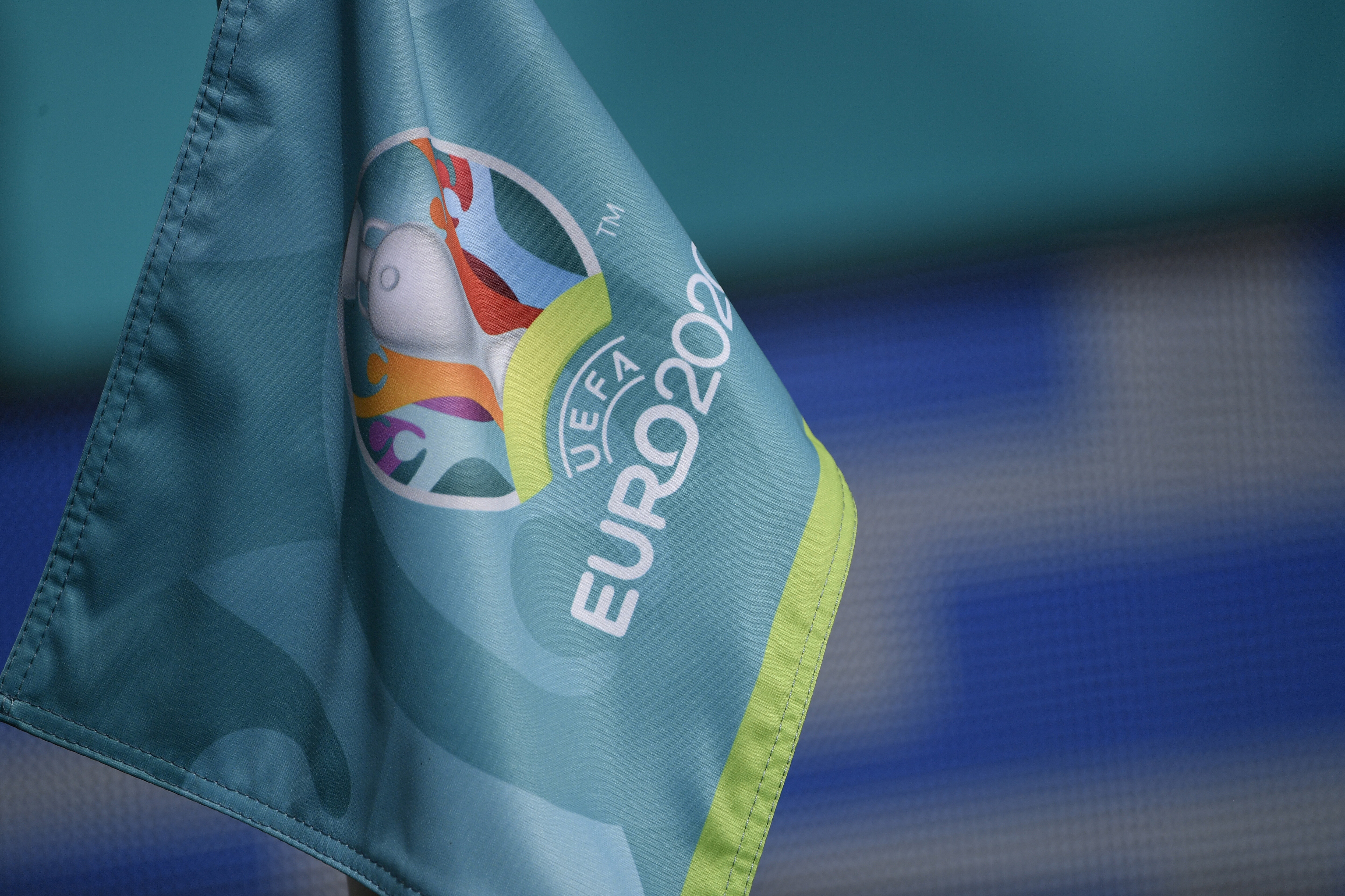 The corner flag with Euro2020 logo is seen during the Uefa...