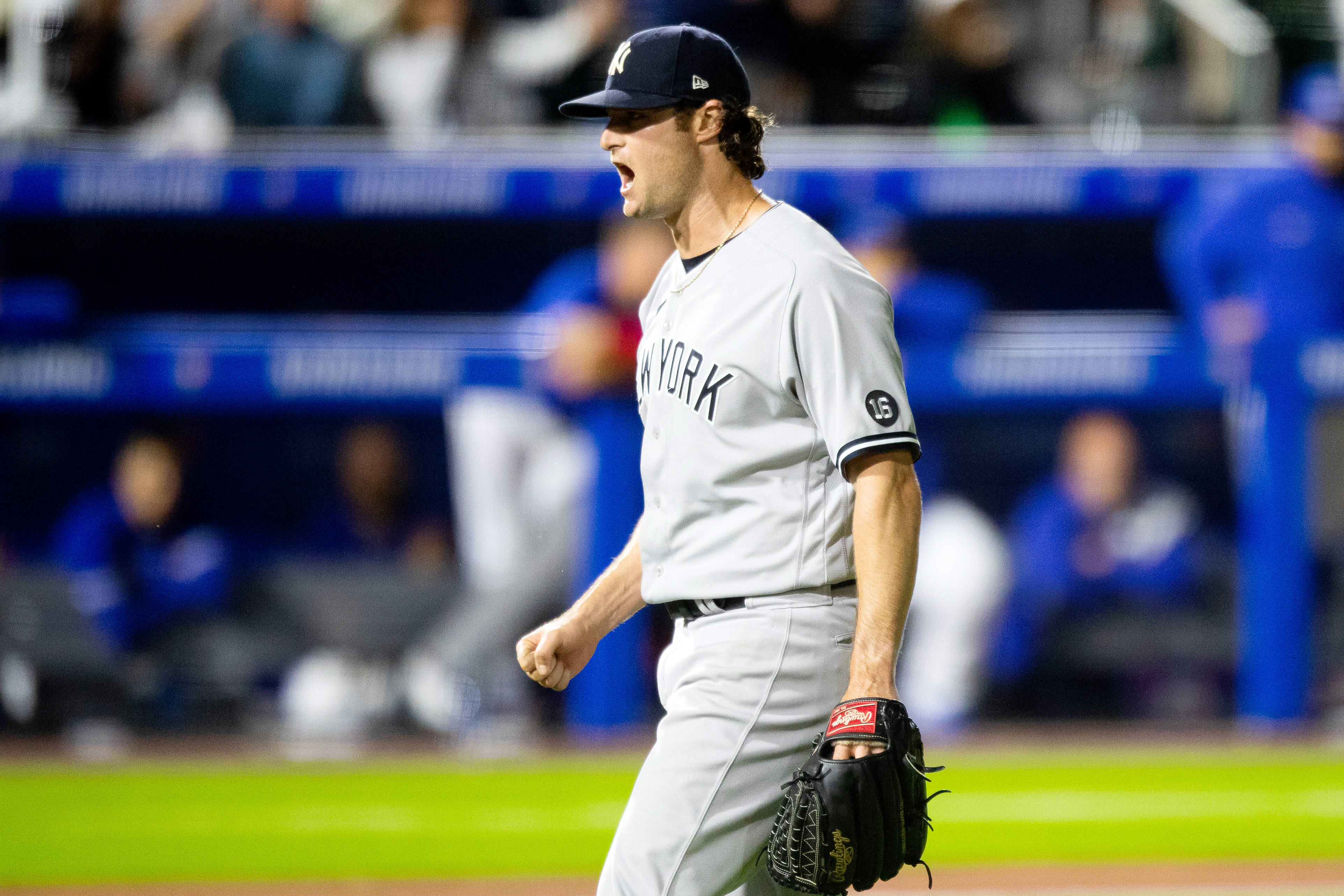 Gerrit Cole #45 of the New York Yankees reacts during the game between the New York Yankees and the Toronto Blue Jays at Sahlen Field on Wednesday, June 16, 2021 in Buffalo, New York.