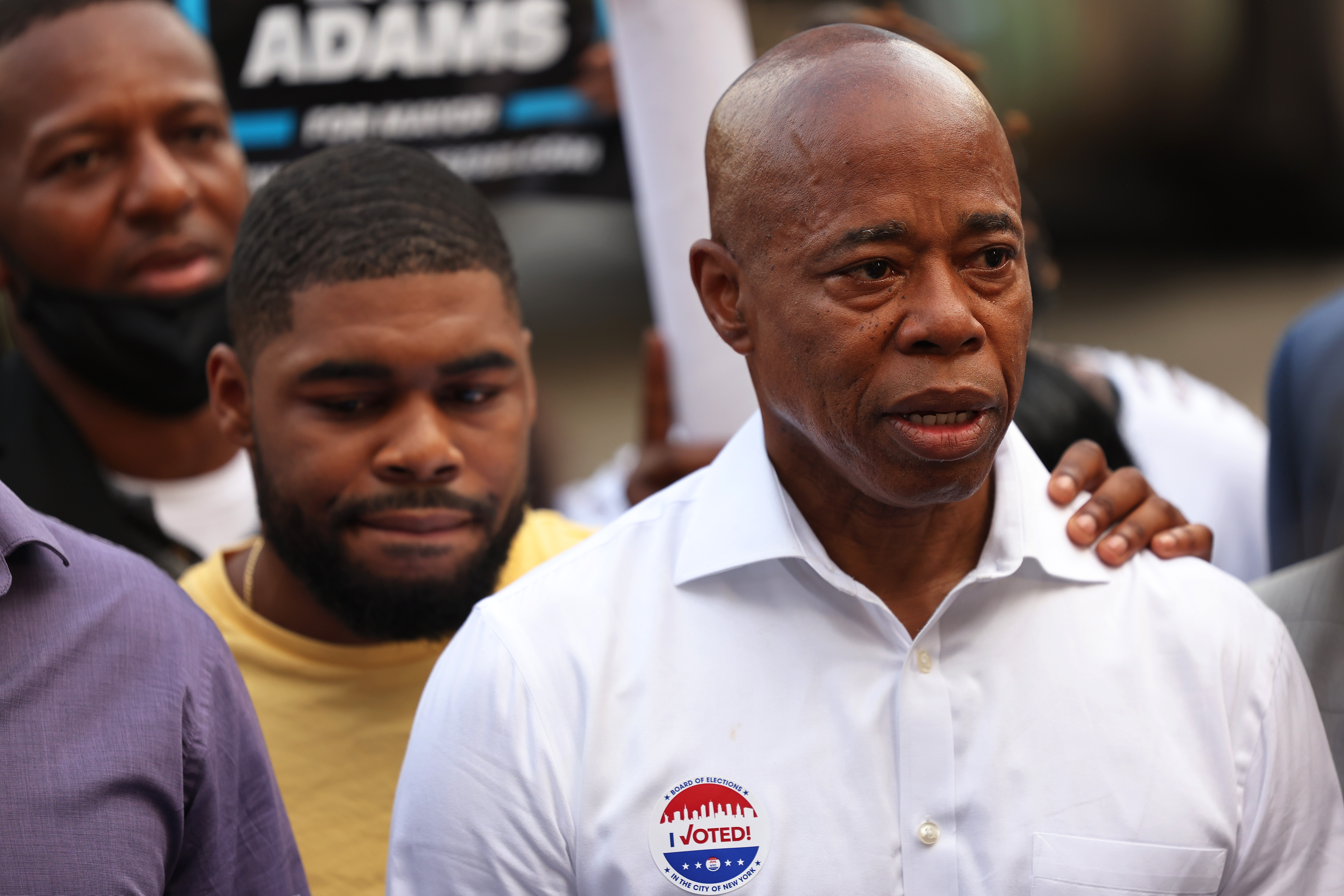 New York City mayoral candidate Eric Adams speaks after voting during Primary Election Day at P.S. 81 on June 22, 2021 in the Bedford-Stuyvesant neighborhood of Brooklyn borough in New York City.