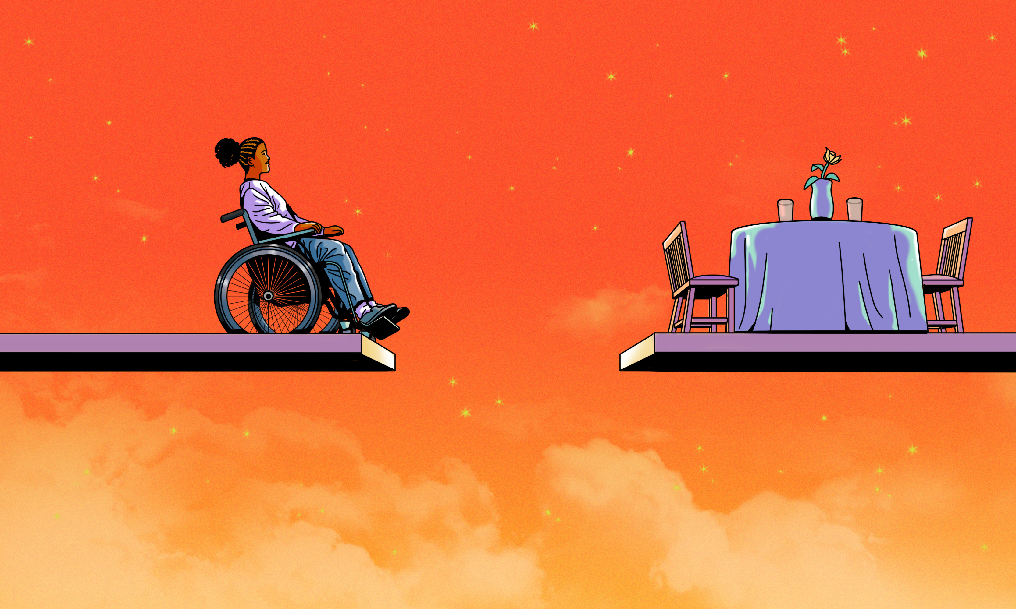 An illustration of a woman in a wheelchair sitting at the end of a high platform. Across from her is another platform holding a dining table and two chairs. The two platforms are divided by a big gap that the woman can't cross. The background is an orange sky with clouds and stars.