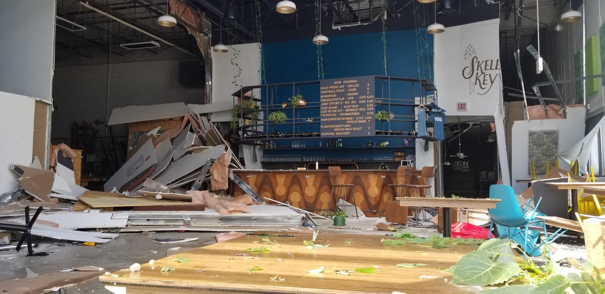 A damaged bar
