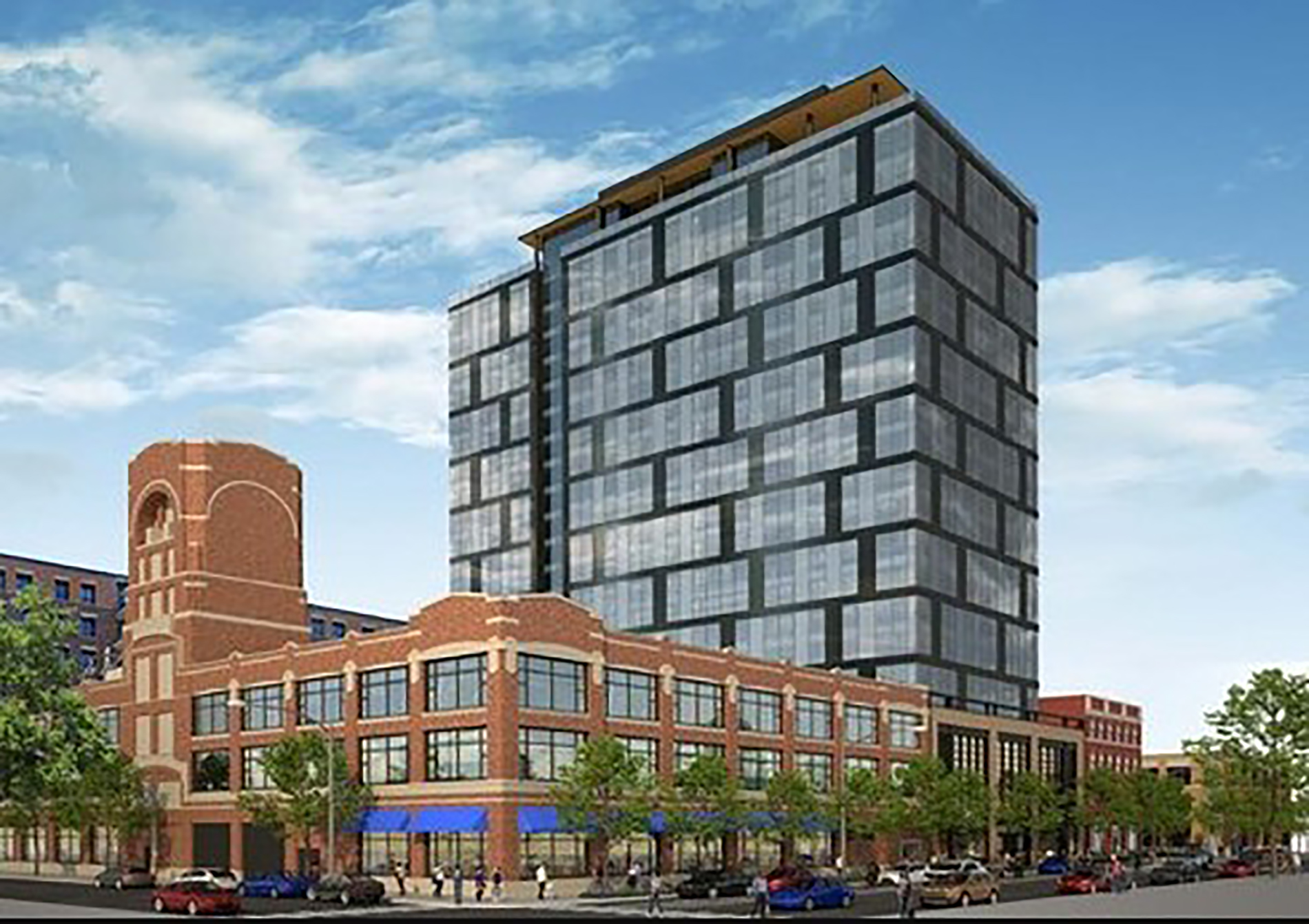 A rendering of the 19-story building proposed for 1217 W. Washington Blvd.