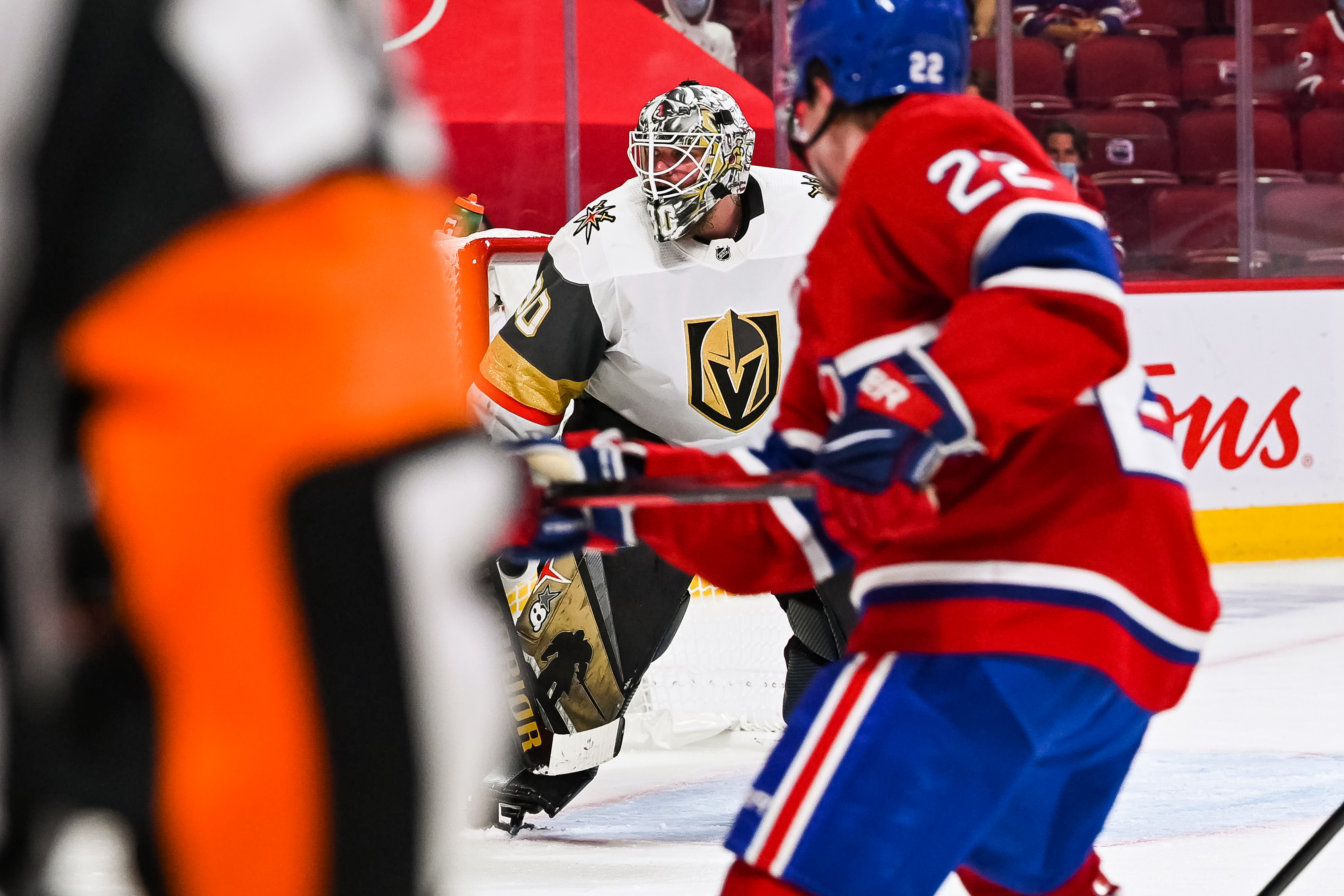 Las Vegas Golden Knights goalie Robin Lehner (90) tracks the play on his right during the NHL Stanley Cup Playoffs Semifinals game 4 between the Las Vegas Golden Knights versus the Montreal Canadiens on June 20, 2021, at Bell Centre in Montreal, QC
