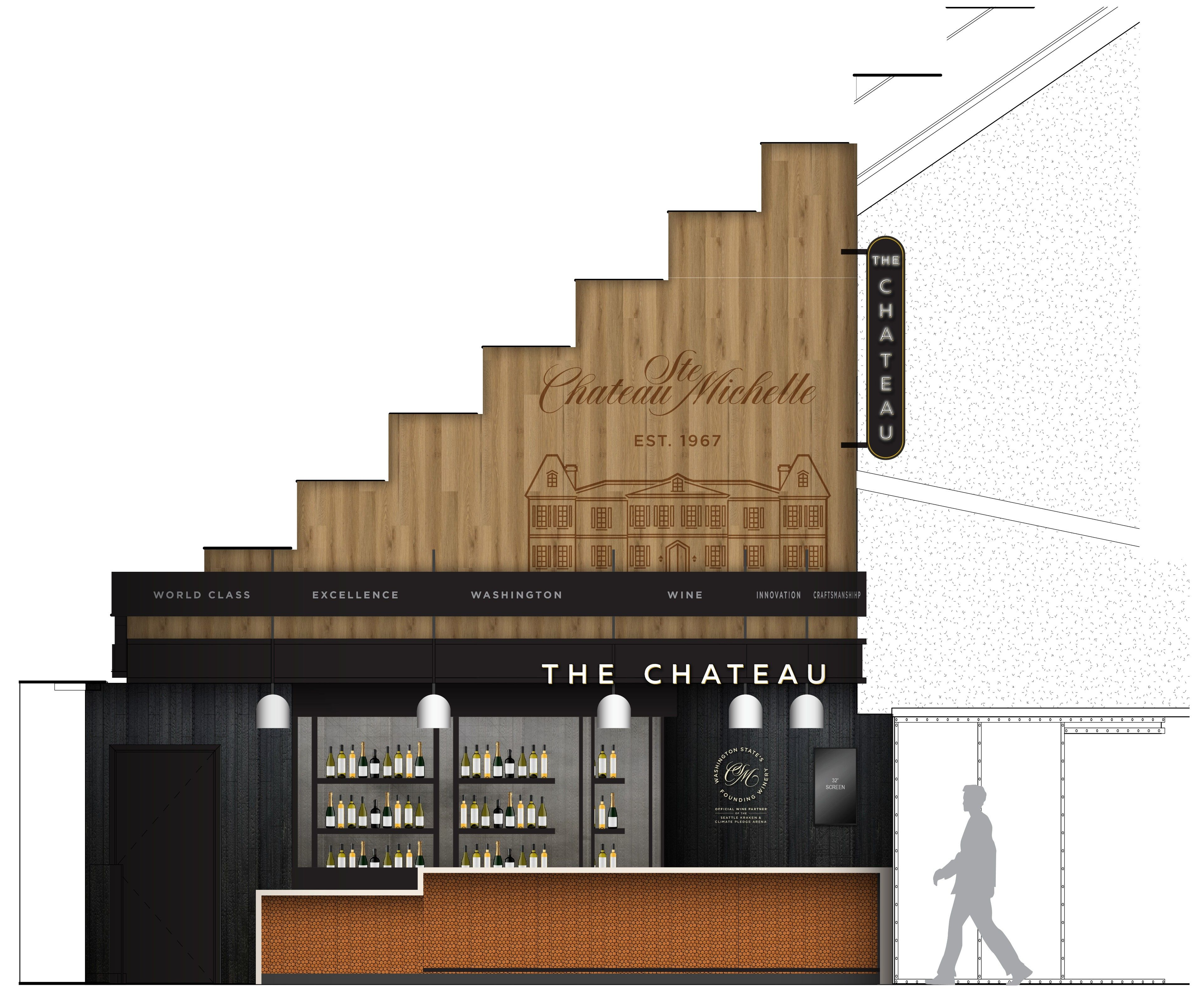 Chateau酒吧的电脑效果图,它将位于气候承诺场馆的贝克山大厅,有木制屋顶和黑色的墙壁