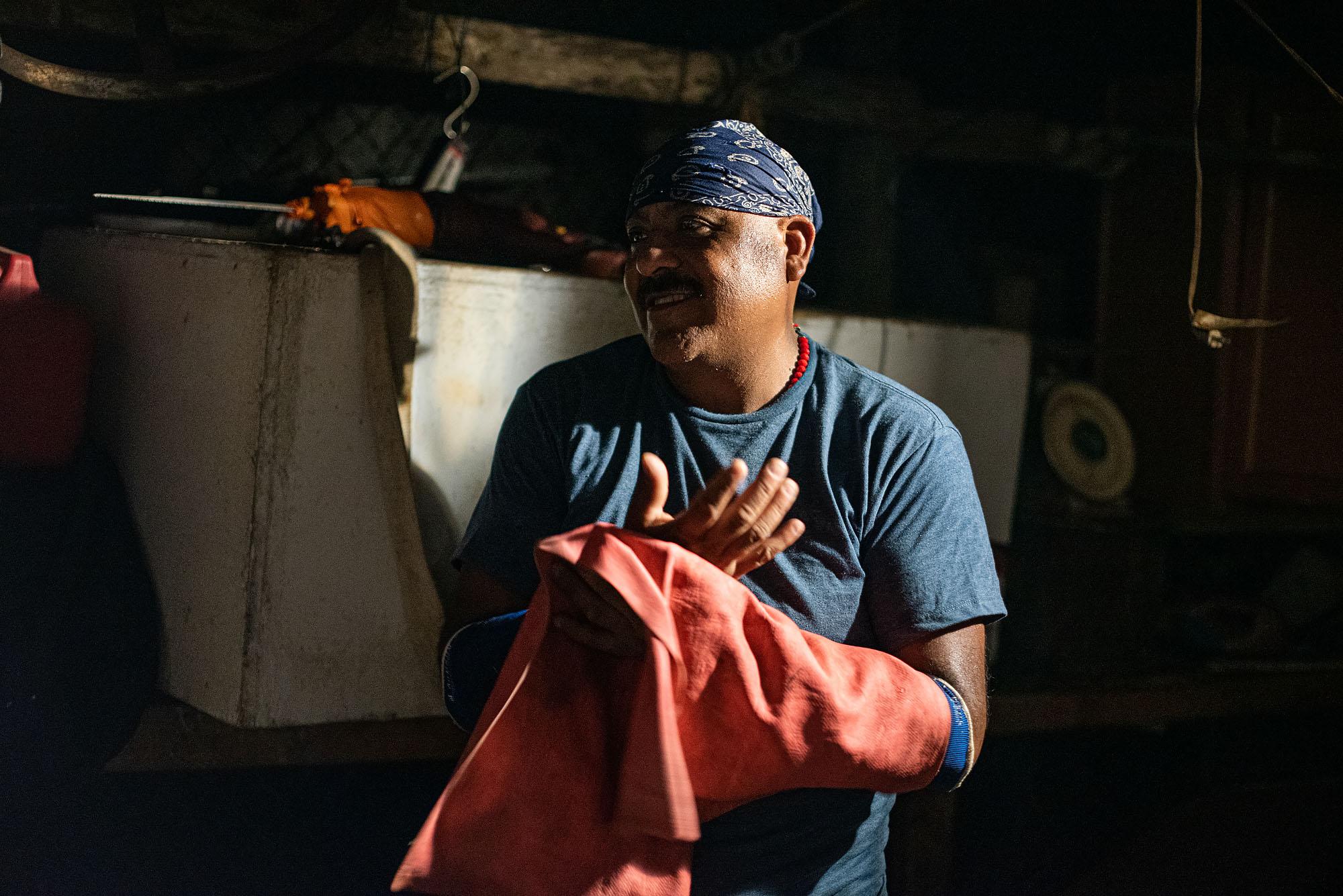 Gonzalo Ramirez, a barbacoa master, in his farm in Pixley, California.