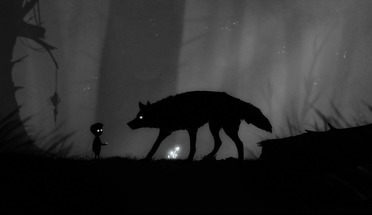 a wolf confronts a boy in the forest in the black-and-white game Limbo