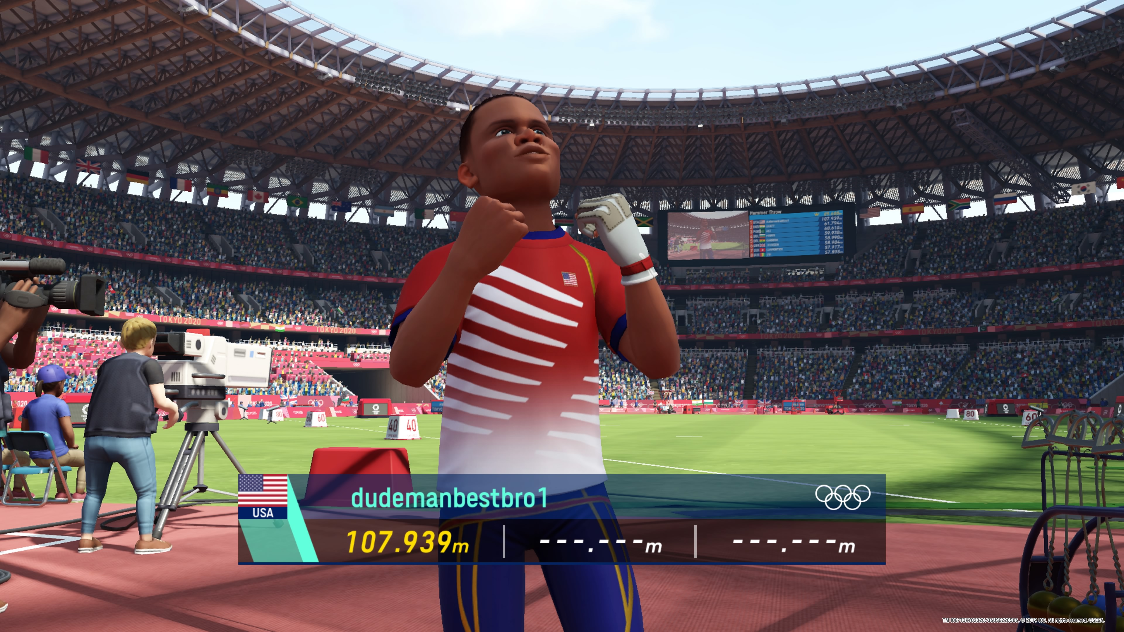 A stylized hammer throw athlete pumps his fists after a very strong round