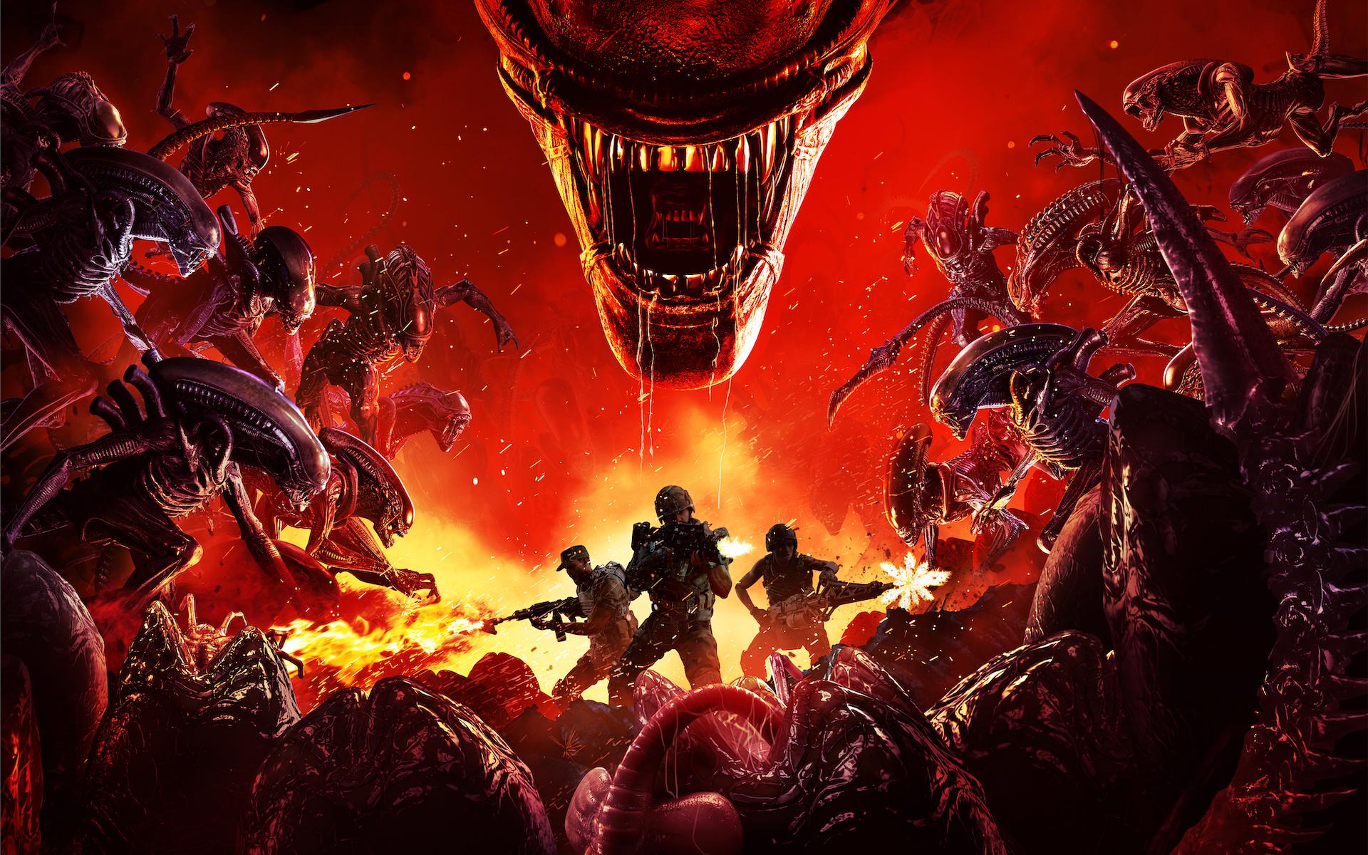 Key art for Aliens: Fireteam Elite, featuring three Marines taking on a swarm of Xenomorphs