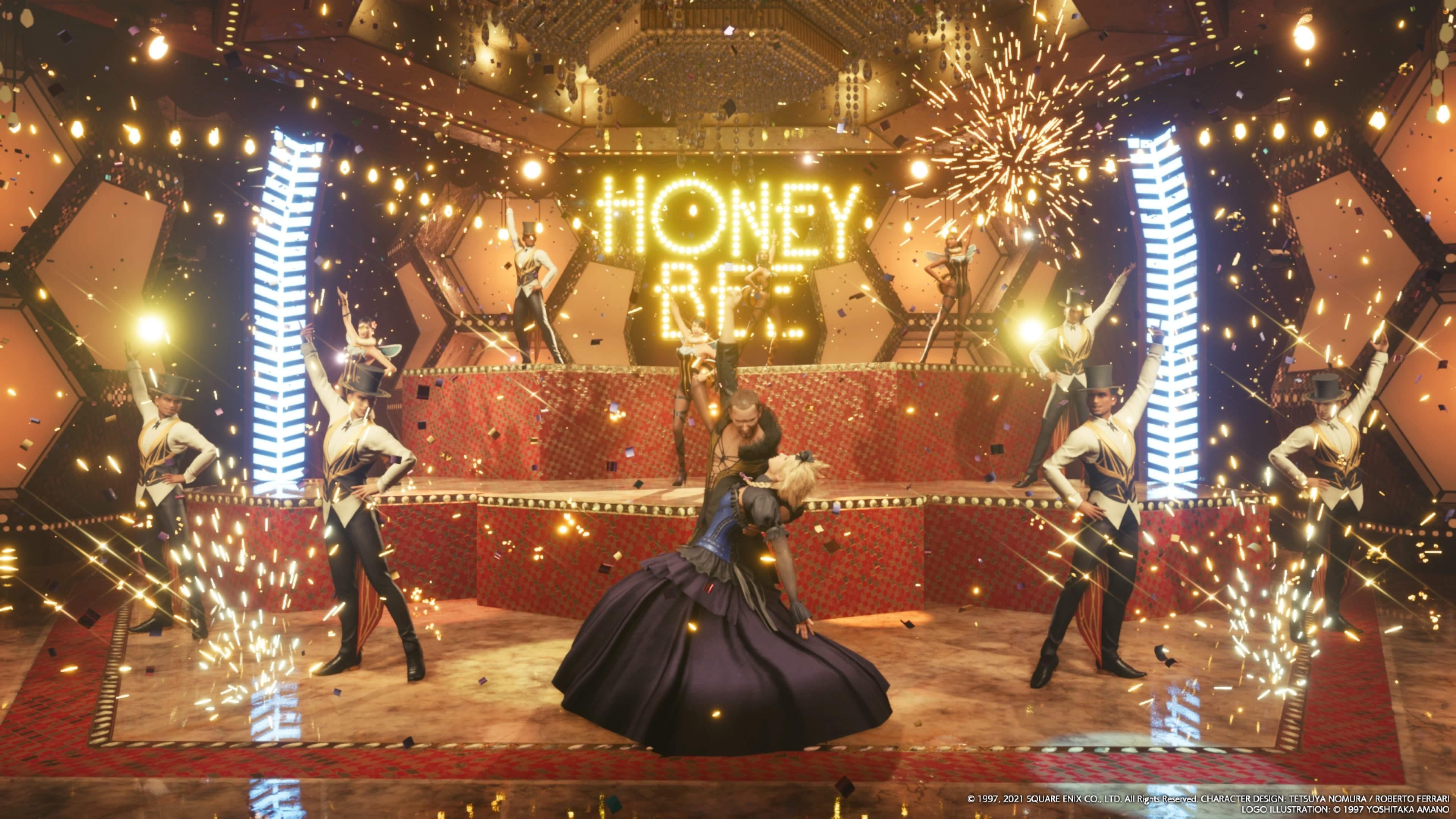 dancing in FF7's honeybee inn scene