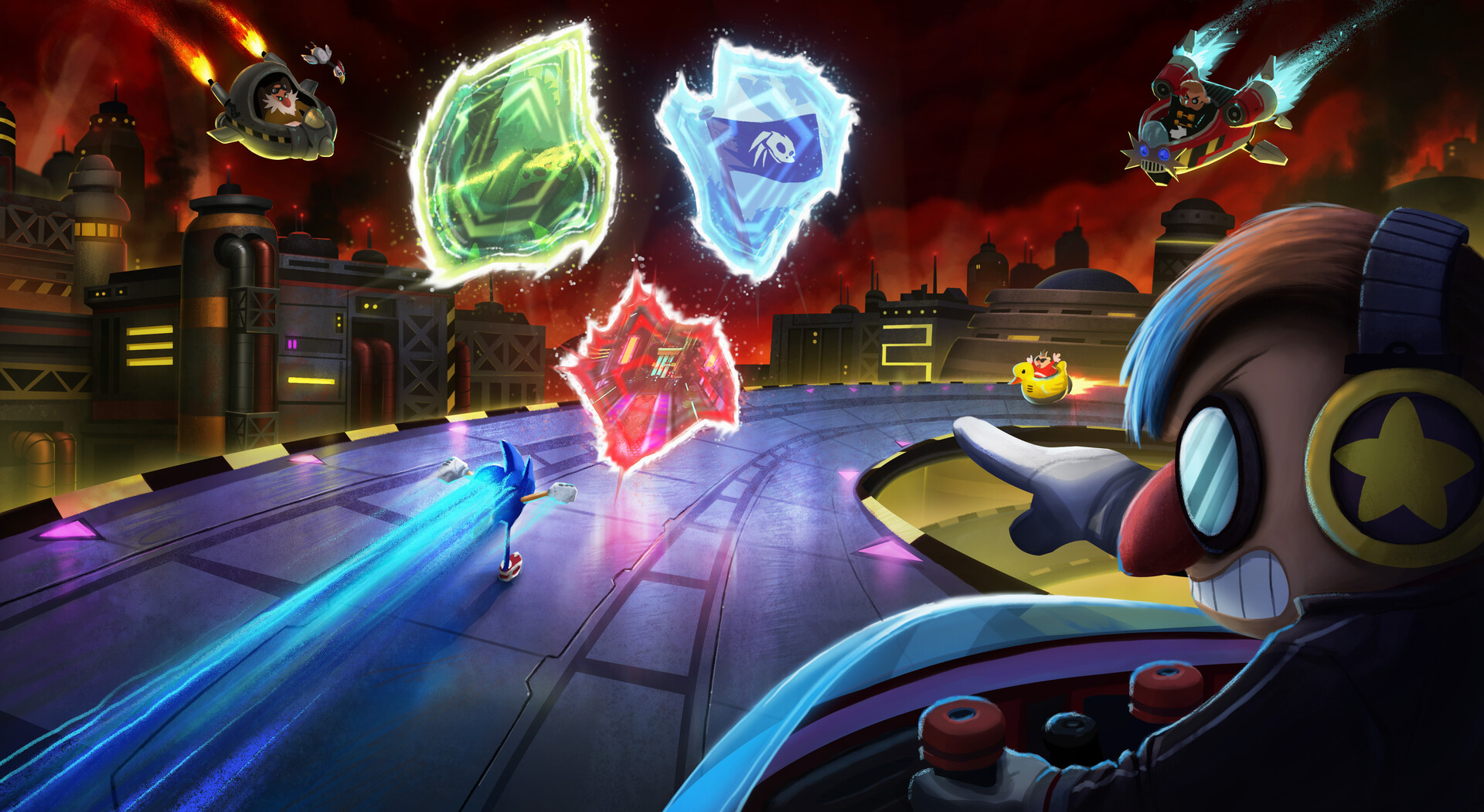 Concept art of Sonic the Hedgehog running toward portals while being chased by multiple Robotniks
