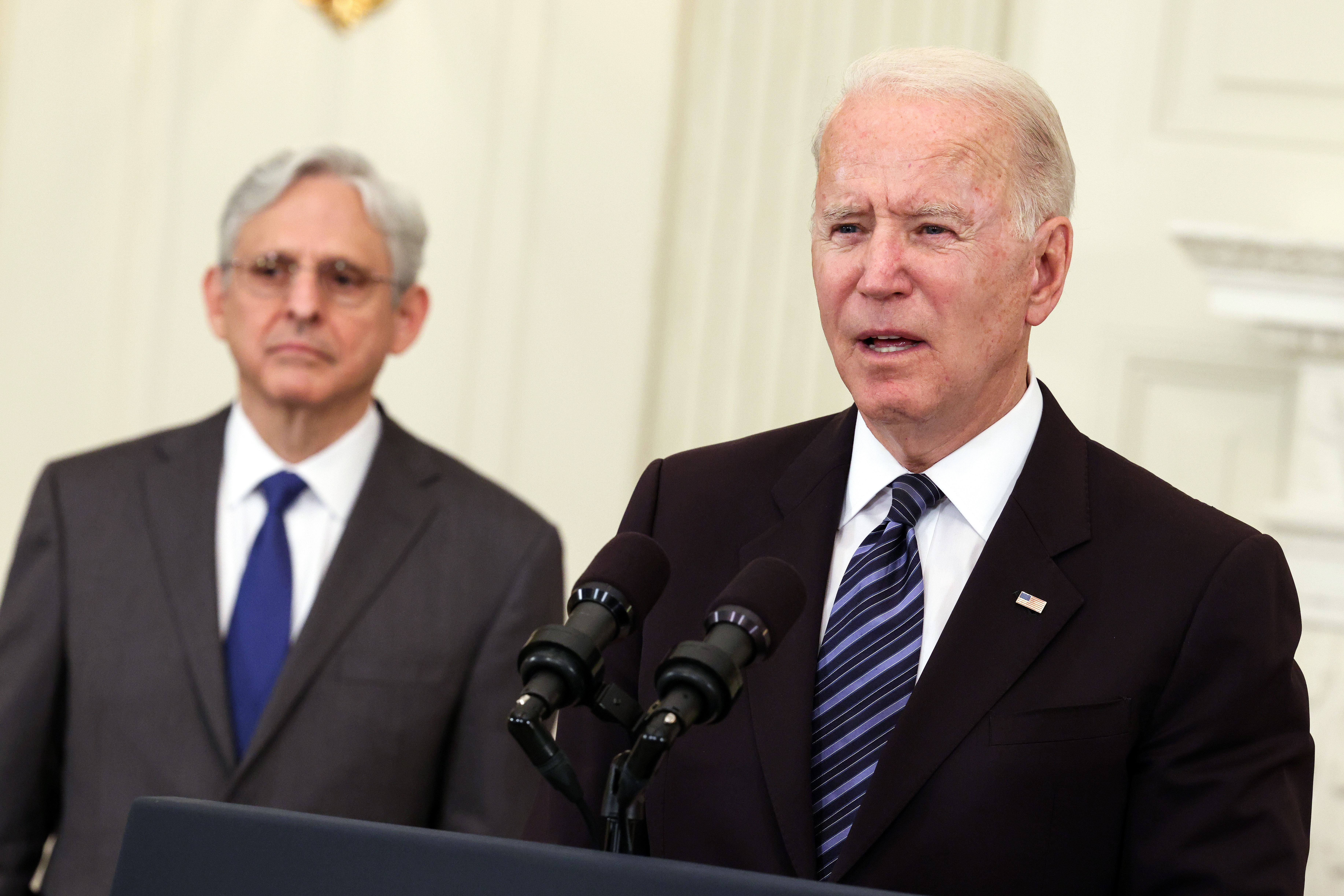 WASHINGTON, DC - JUNE 23: U.S. President Joe Biden, joined Attorney General Merrick Garland, speaks on gun crime prevention measures at the White House on June 23, 2021 in Washington, DC. Biden outlined new measures to curb gun violence including stopping the flow illegal guns and targeting rogue gun dealers. (Photo by Kevin Dietsch/Getty Images) ORG XMIT: 775670281