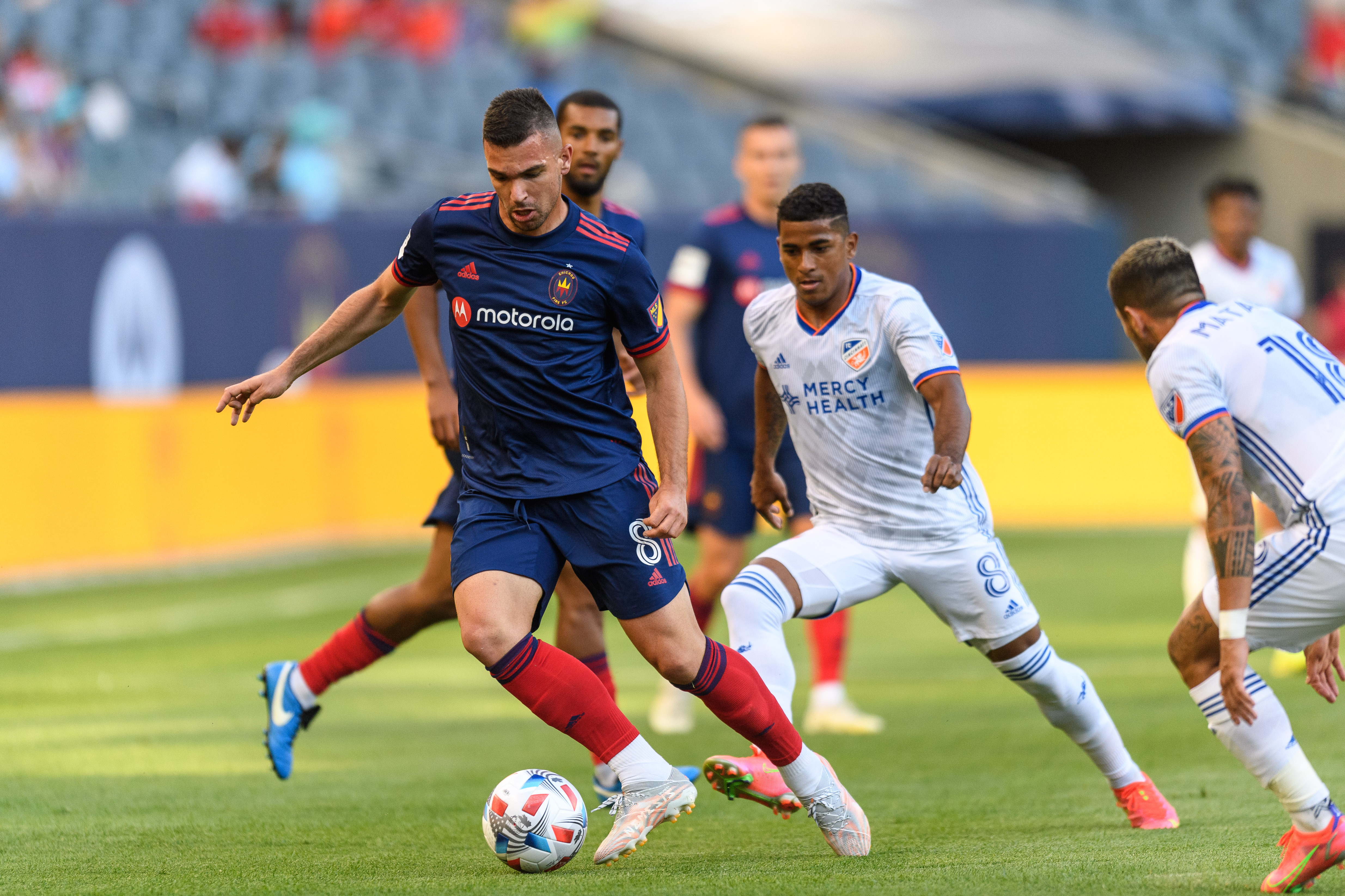 Fire midfielder Luka Stojanovic controls the ball during the first half of Wednesday's game.