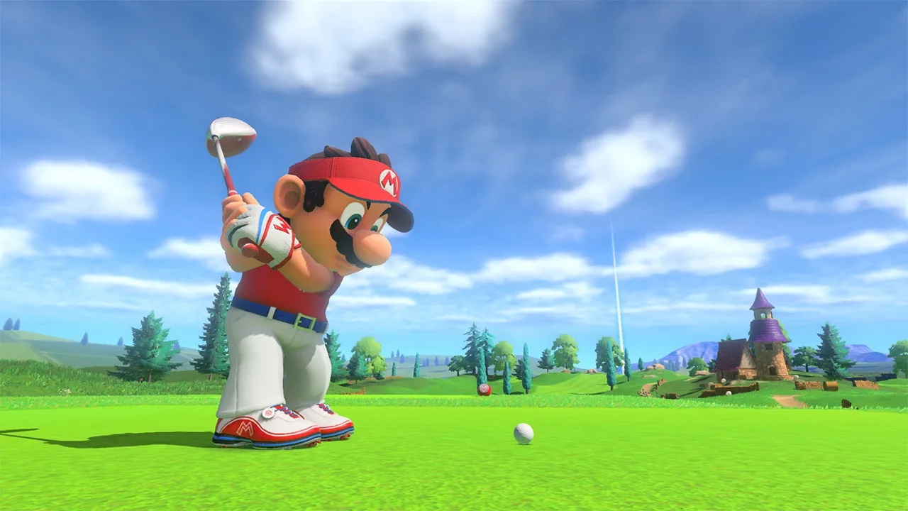 Mario takes a huge swing on Mario Golf. He's wearing a crisp polo shirt, a red visor, and some white pants because he's fearless of other people's opinions.
