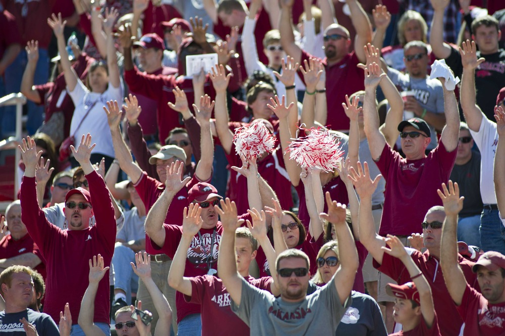 April 21, 2012; Fayetteville, AR, USA; The Arkansas Razorback crowd cheers during the spring game at Donald W. Reynolds Stadium.  Mandatory Credit: Beth Hall-US PRESSWIRE