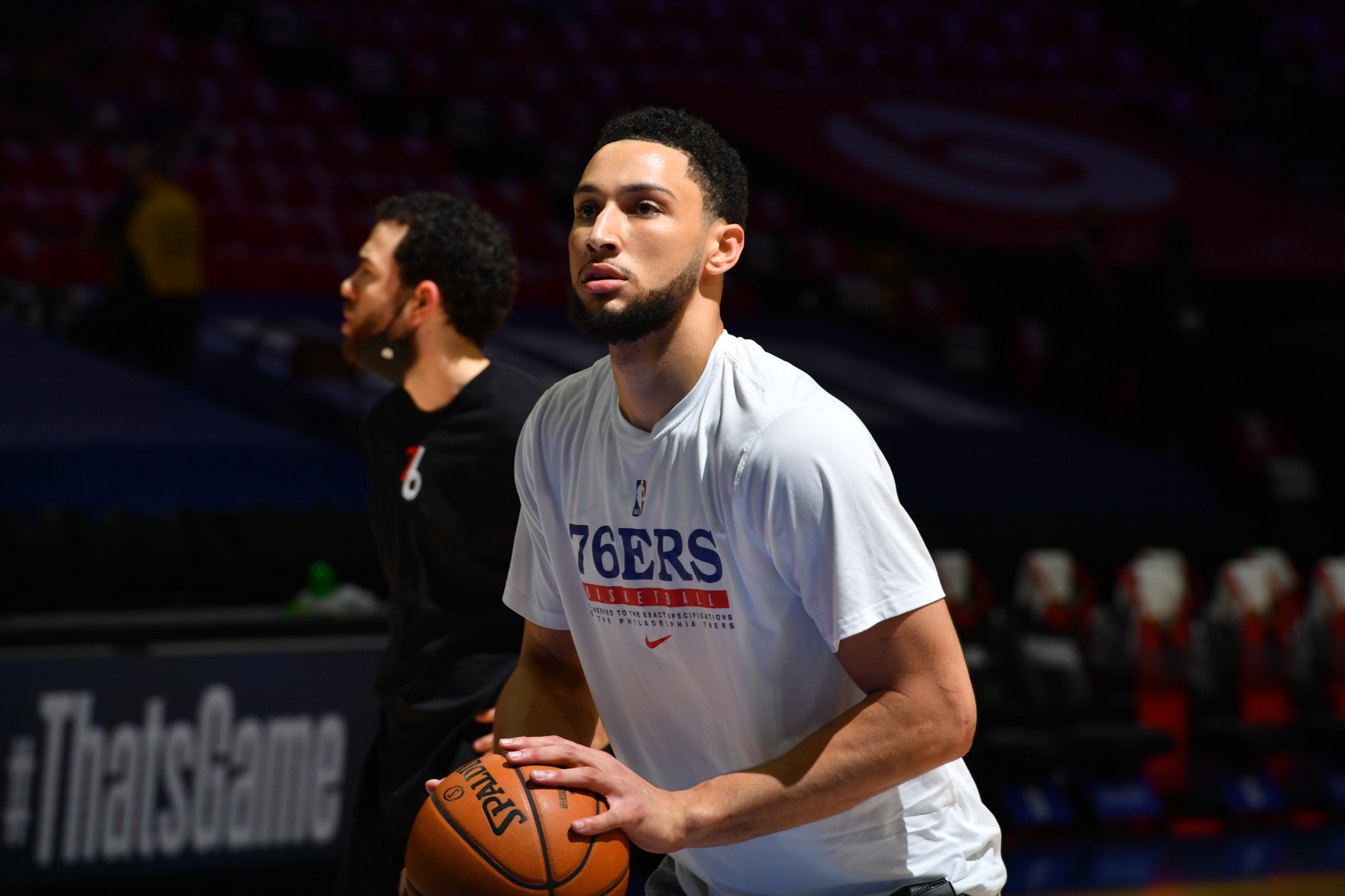 Ben Simmons #25 of the Philadelphia 76ers practices free throws prior to a game against the Atlanta Hawks during Round 2, Game 7 of the Eastern Conference Playoffs on June 20, 2021 at Wells Fargo Center in Philadelphia, Pennsylvania.