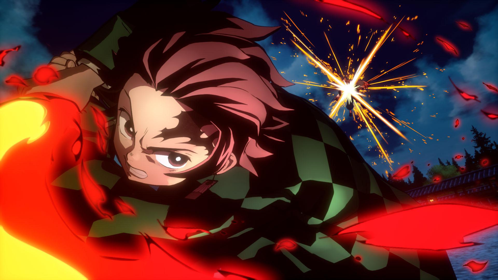 Tanjiro Kamado slashes through a foe in Demon Slayer: Kimetsu no Yaiba - The Hinokami Chronicles