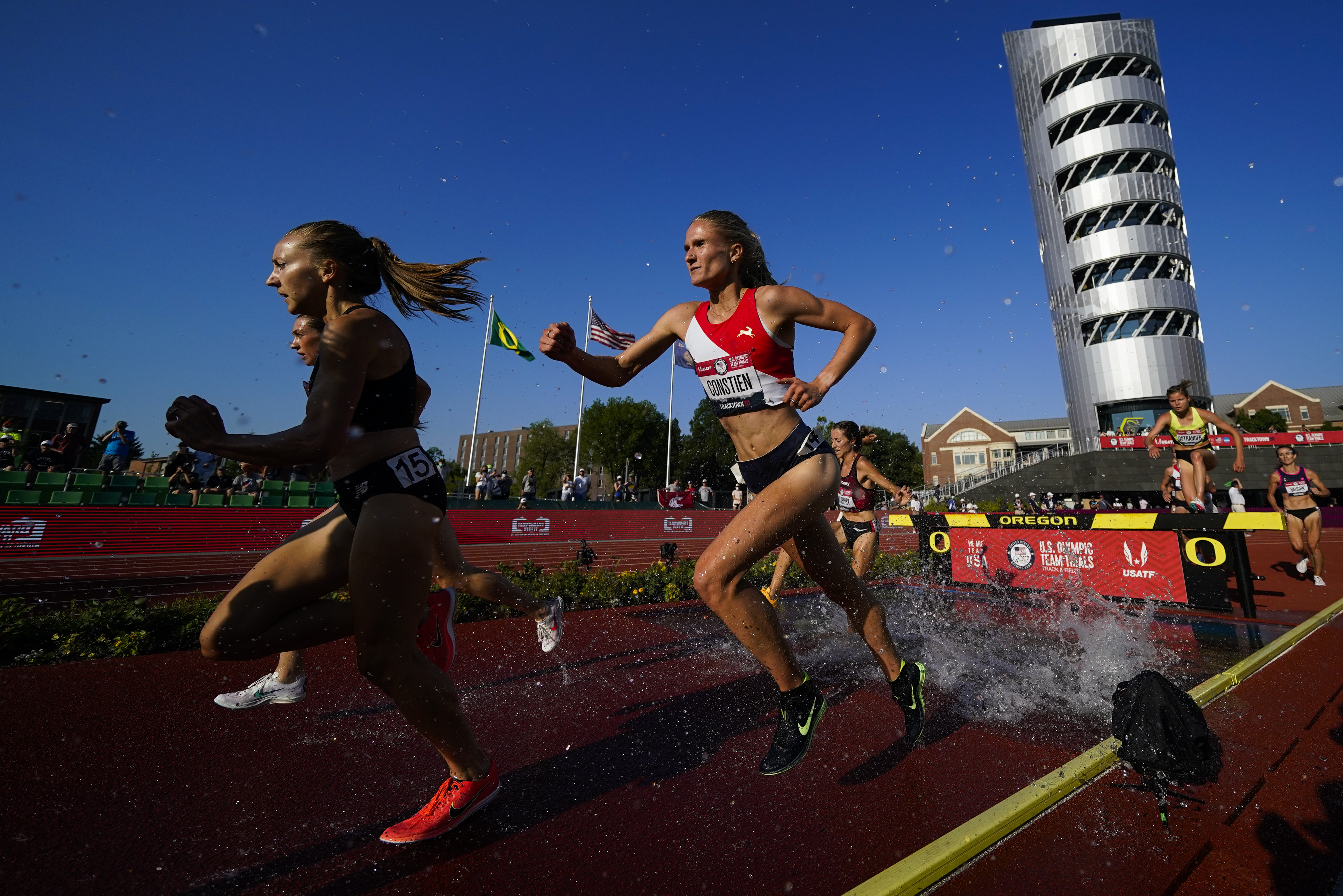 Athletes compete in the women's 3,000 meter steeplechase heats at the U.S. Olympic Track and Field Trials.