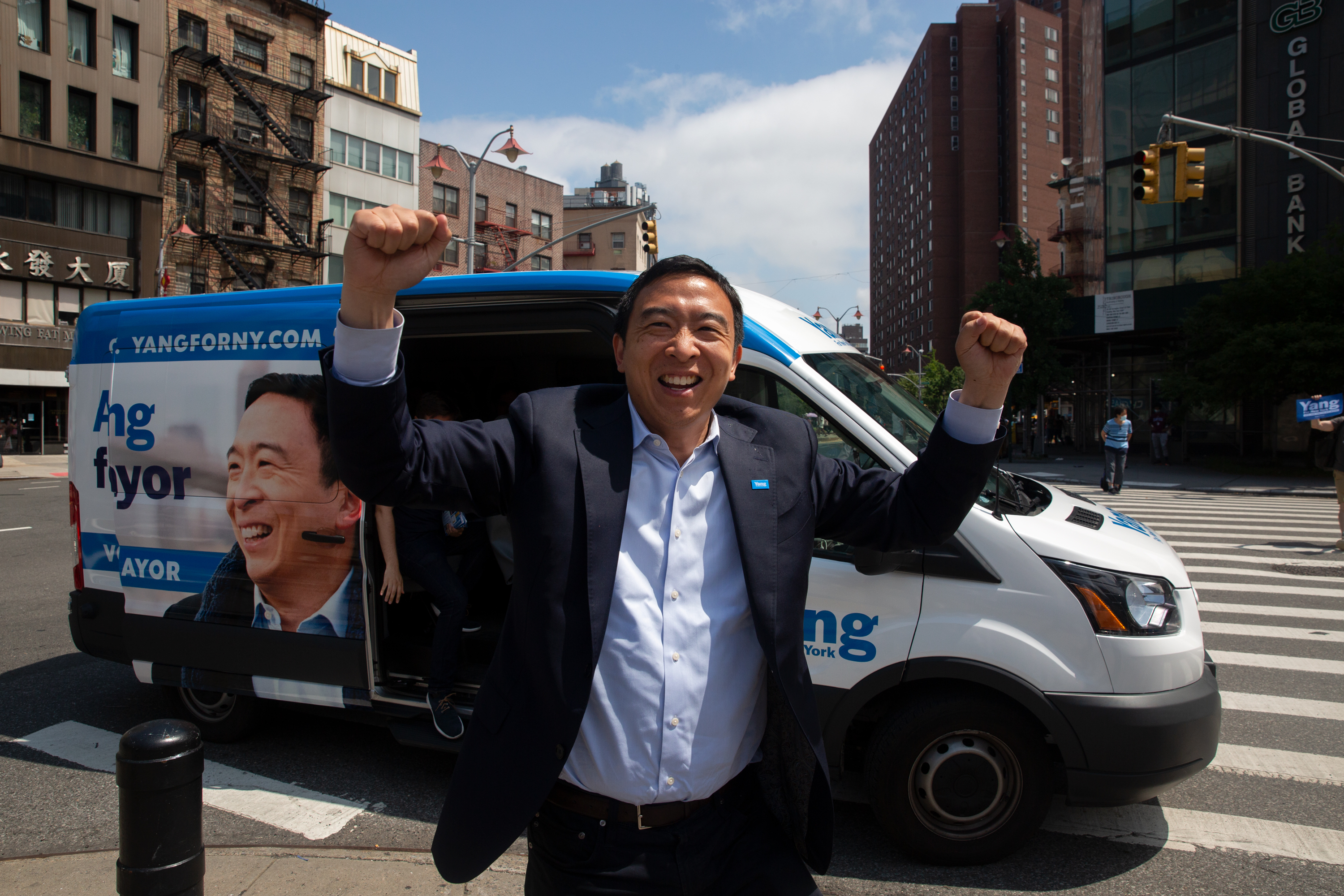 Andrew Yang campaigns in Manhattan's Chinatown on the last day before the mayoral primary, June 21, 2021.
