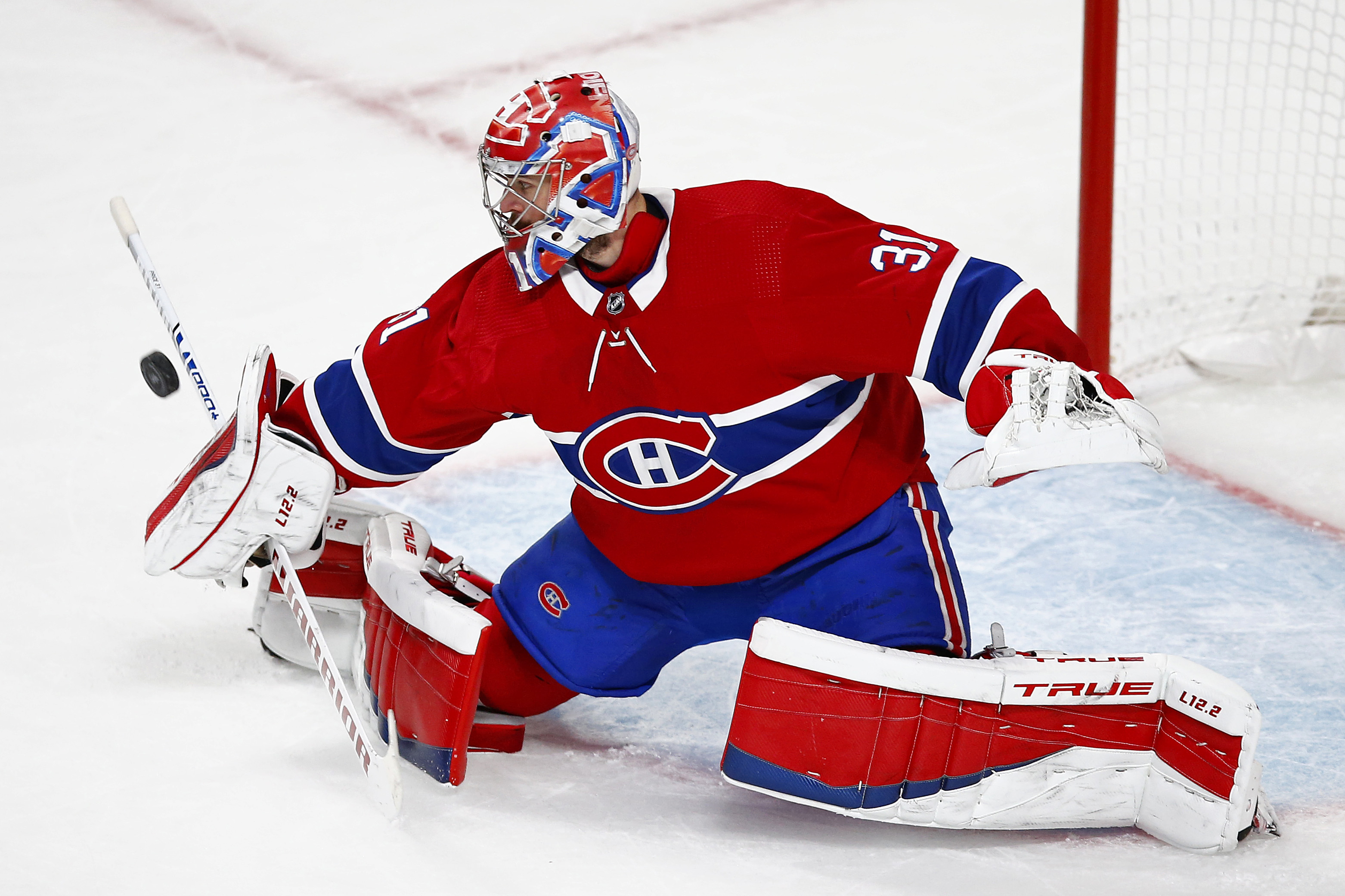 Carey Price of the Montreal Canadiens makes the save against the Vegas Golden Knights during the third period in Game Six of the Stanley Cup Semifinals of the 2021 Stanley Cup Playoffs at Bell Centre on June 24, 2021 in Montreal, Quebec.