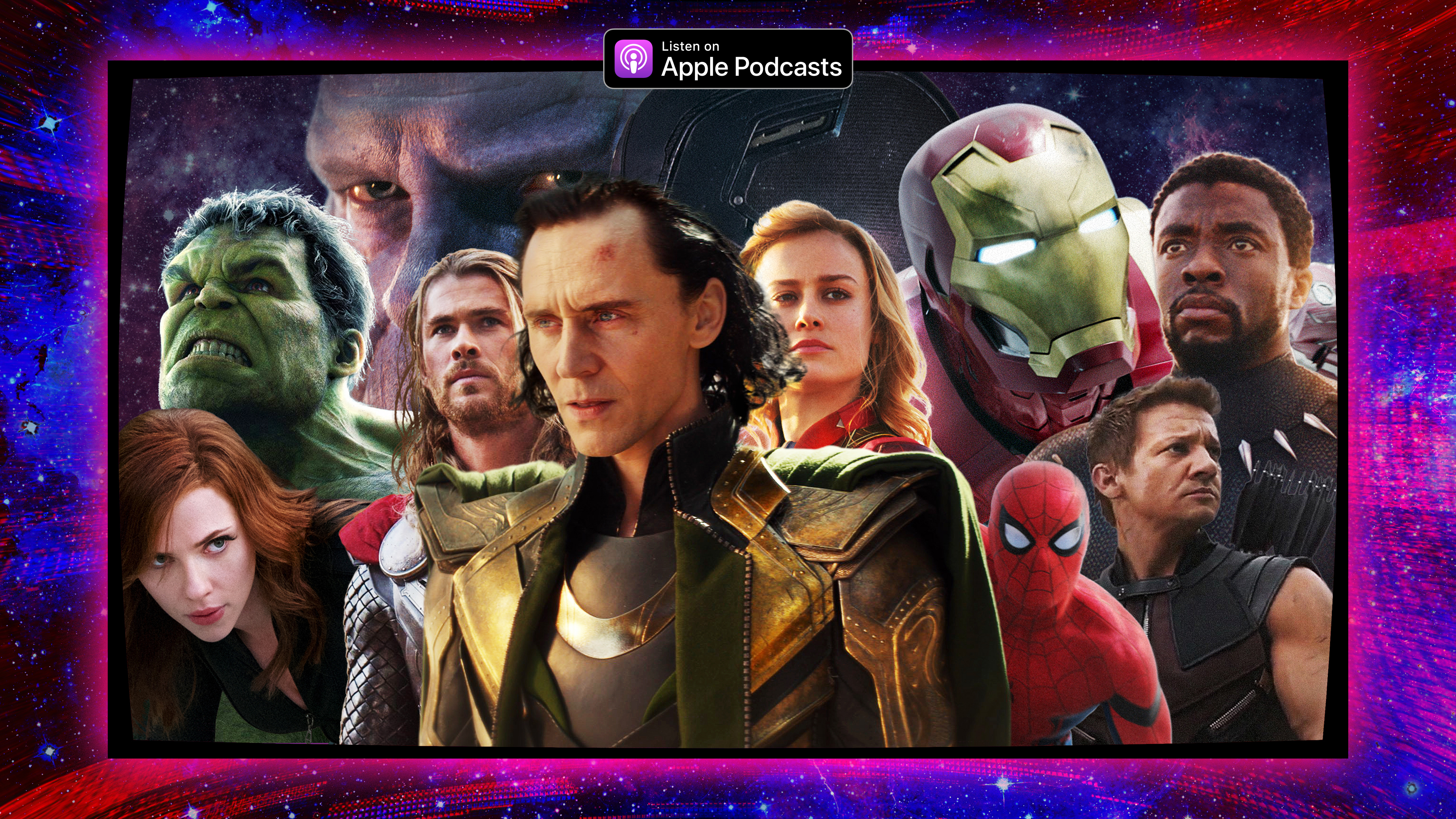 Illustration featuring the Avengers characters with Loki in the center