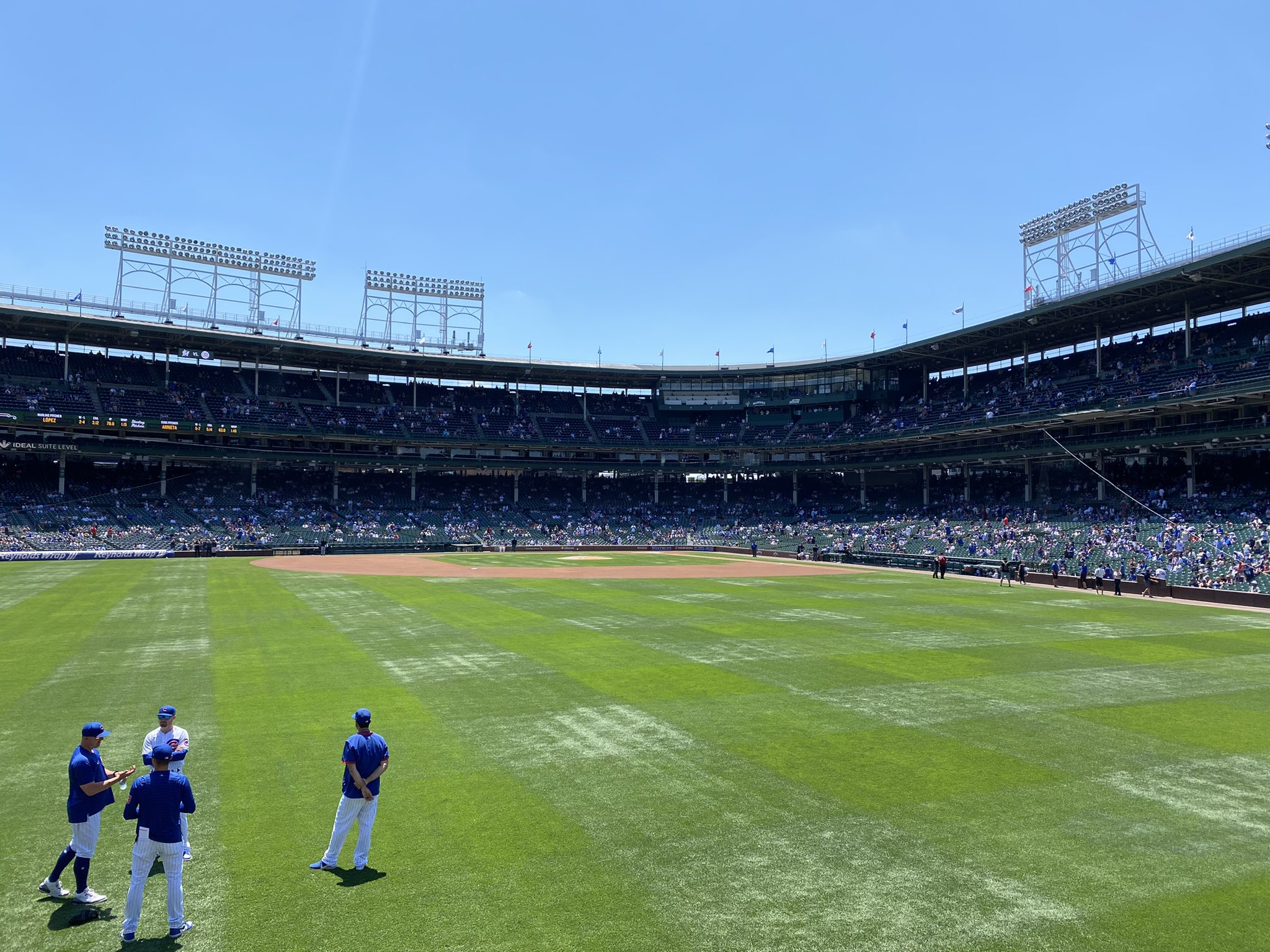 A view of Wrigley Field from the bleacher seats taken prior to a Marlins vs. Cubs game