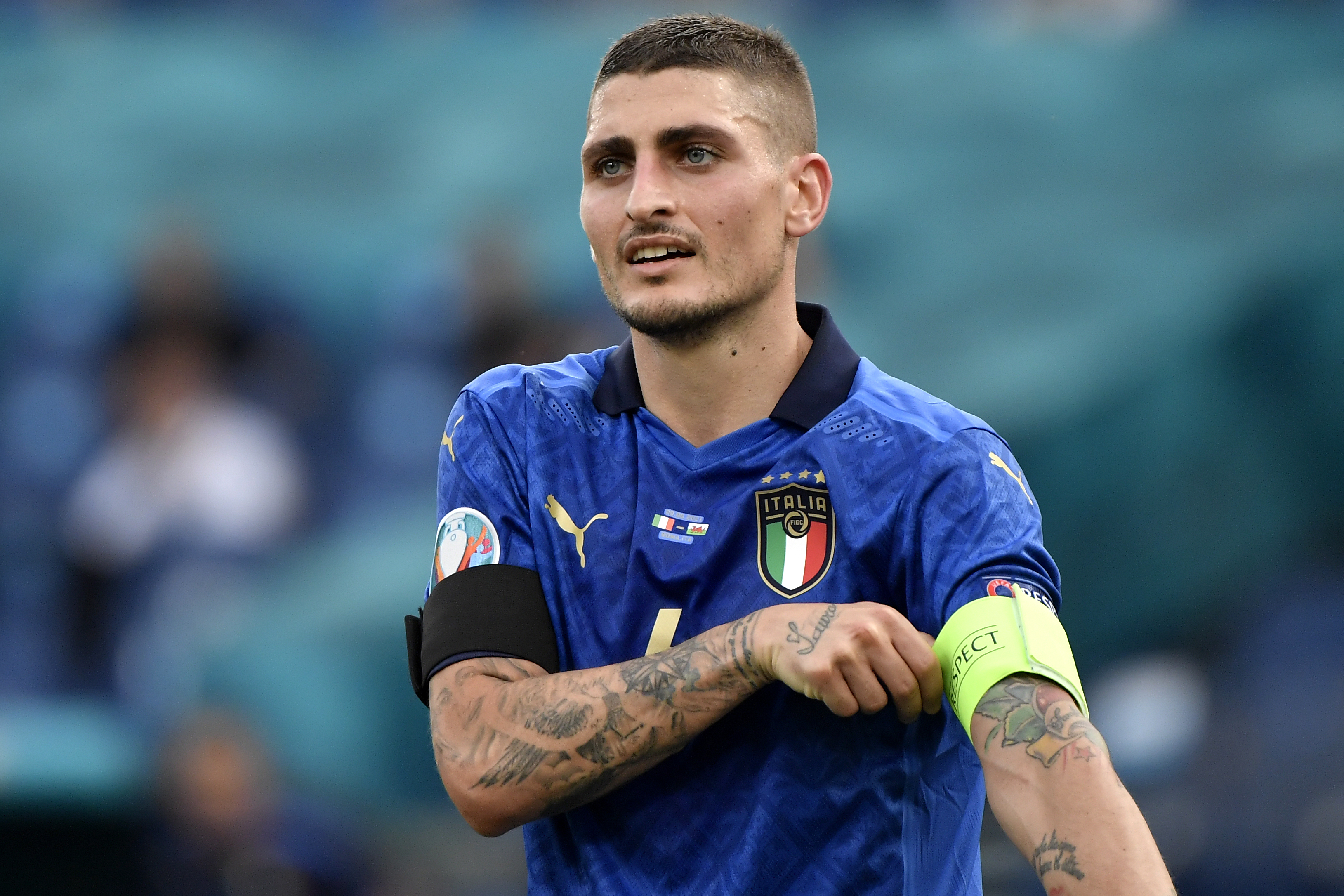 Marco Verratti of Italy reacts during the Uefa Euro 2020...