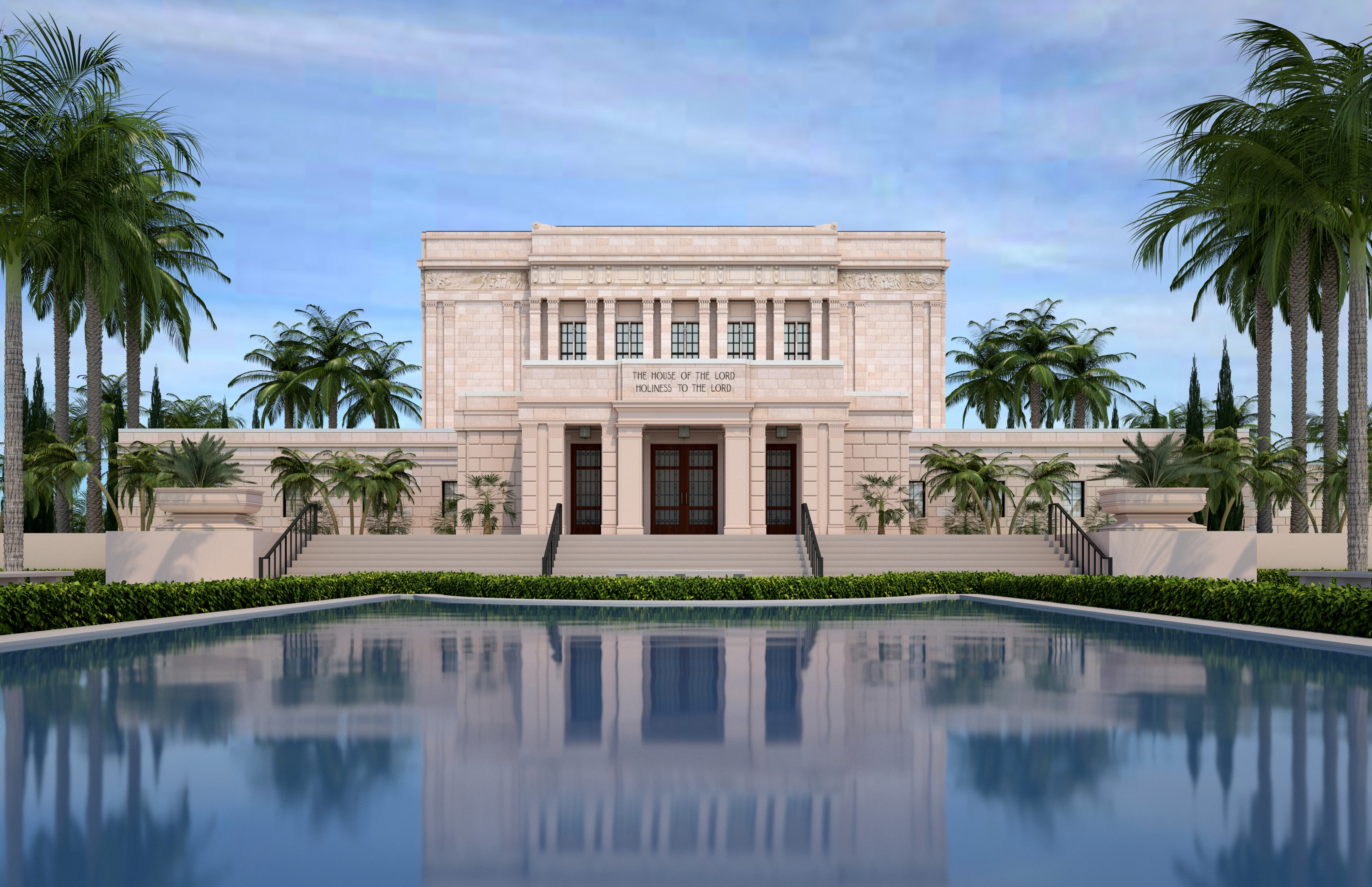 An artist's rendering of the Mesa Arizona Temple after its extensive renovation.