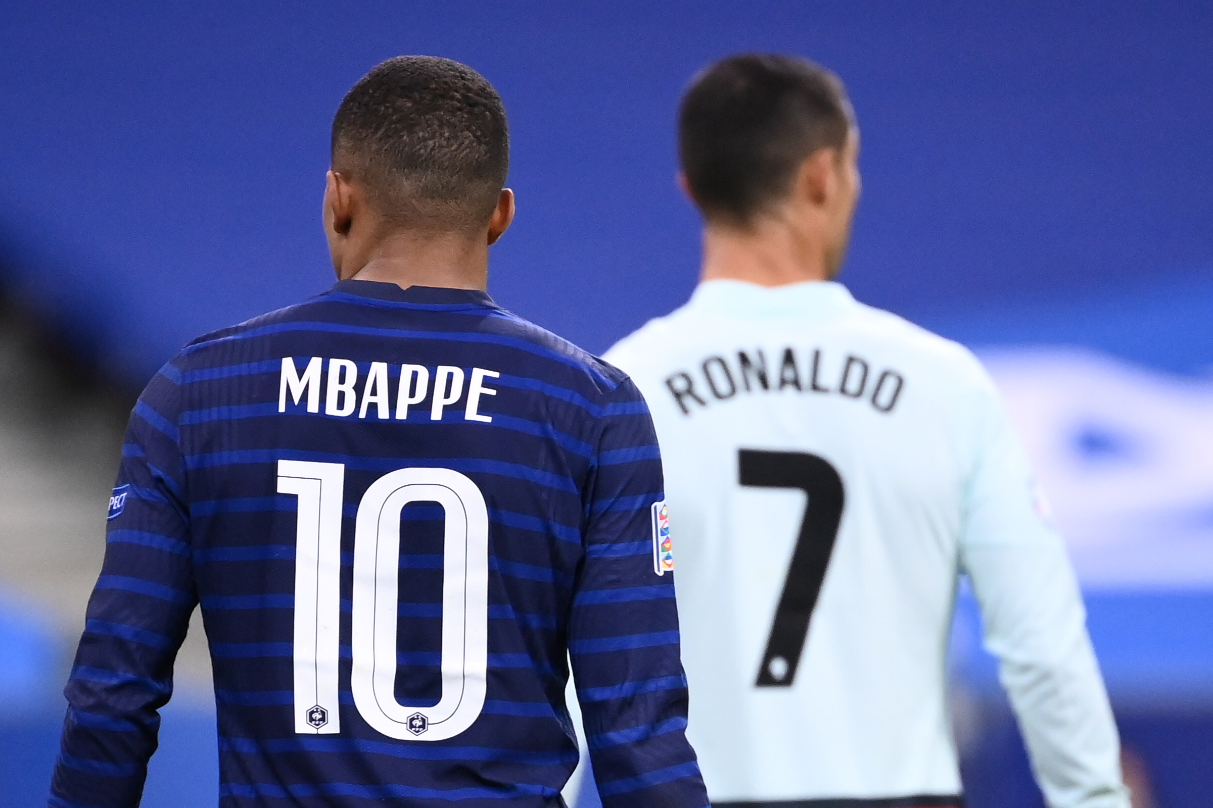 Kylian Mbappe walks with Cristiano Ronaldo - France vs Portugal - Euro 2020