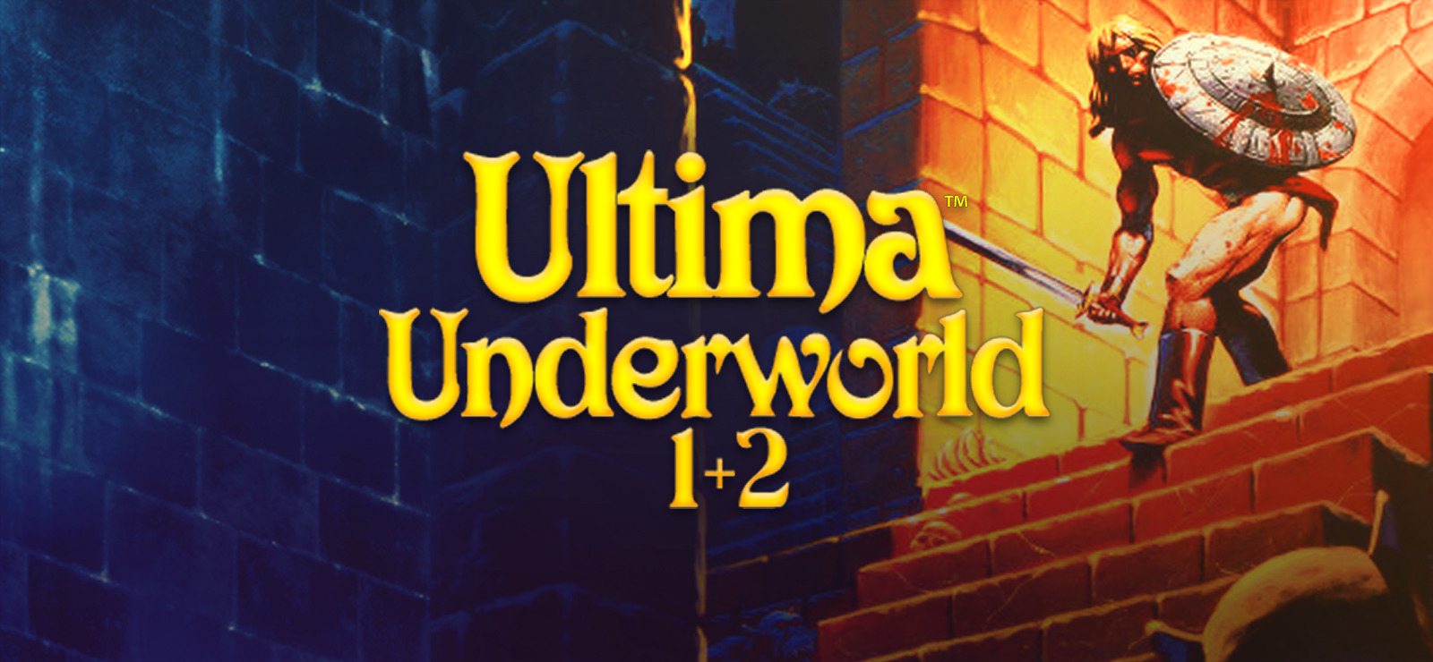 artwork for Ultima Underworld 1+2: a shirtless barbarian with sword and shield peers down a staircase into a dungeon below