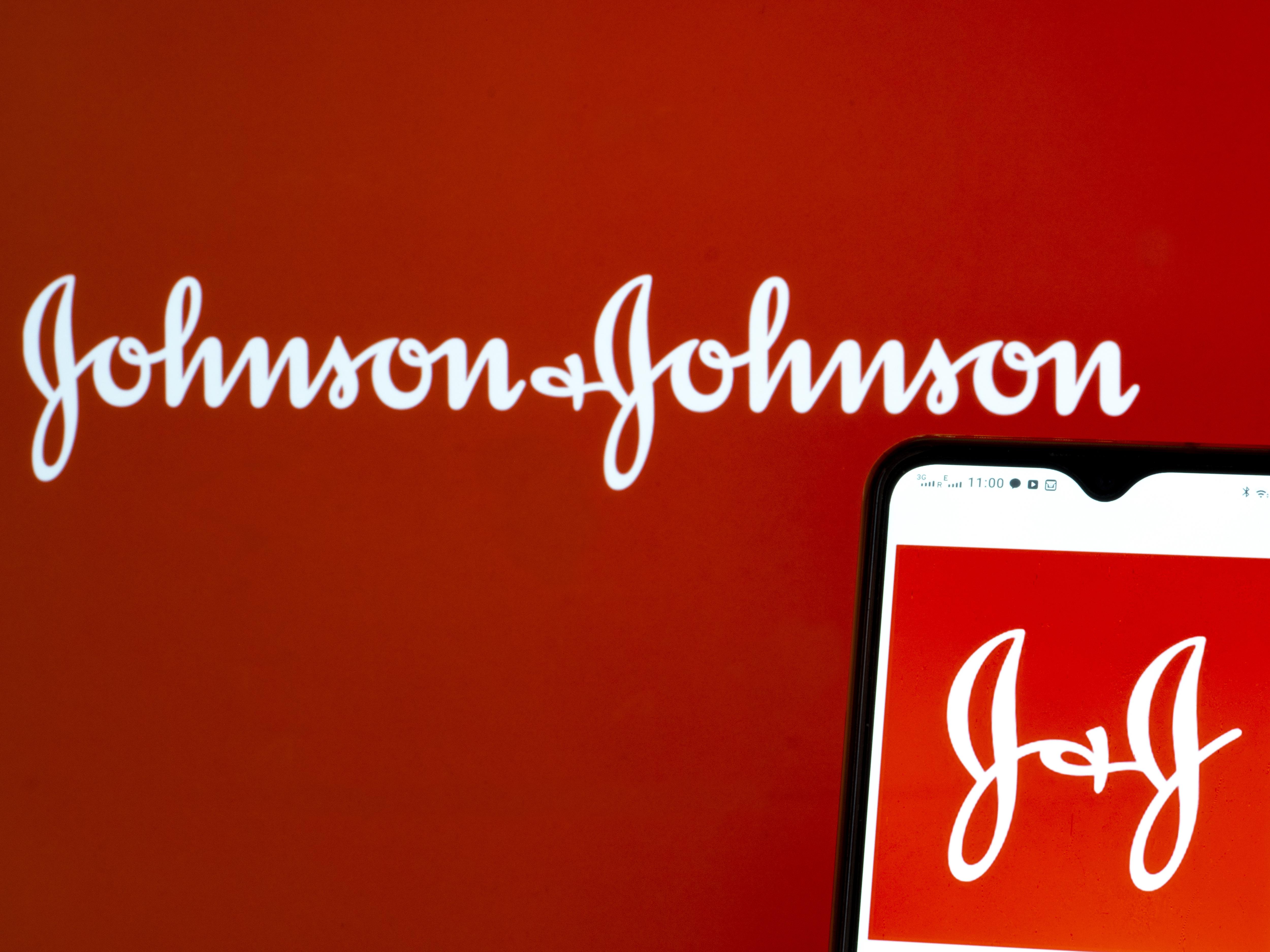 In this photo illustration Johnson & Johnson logo seen...