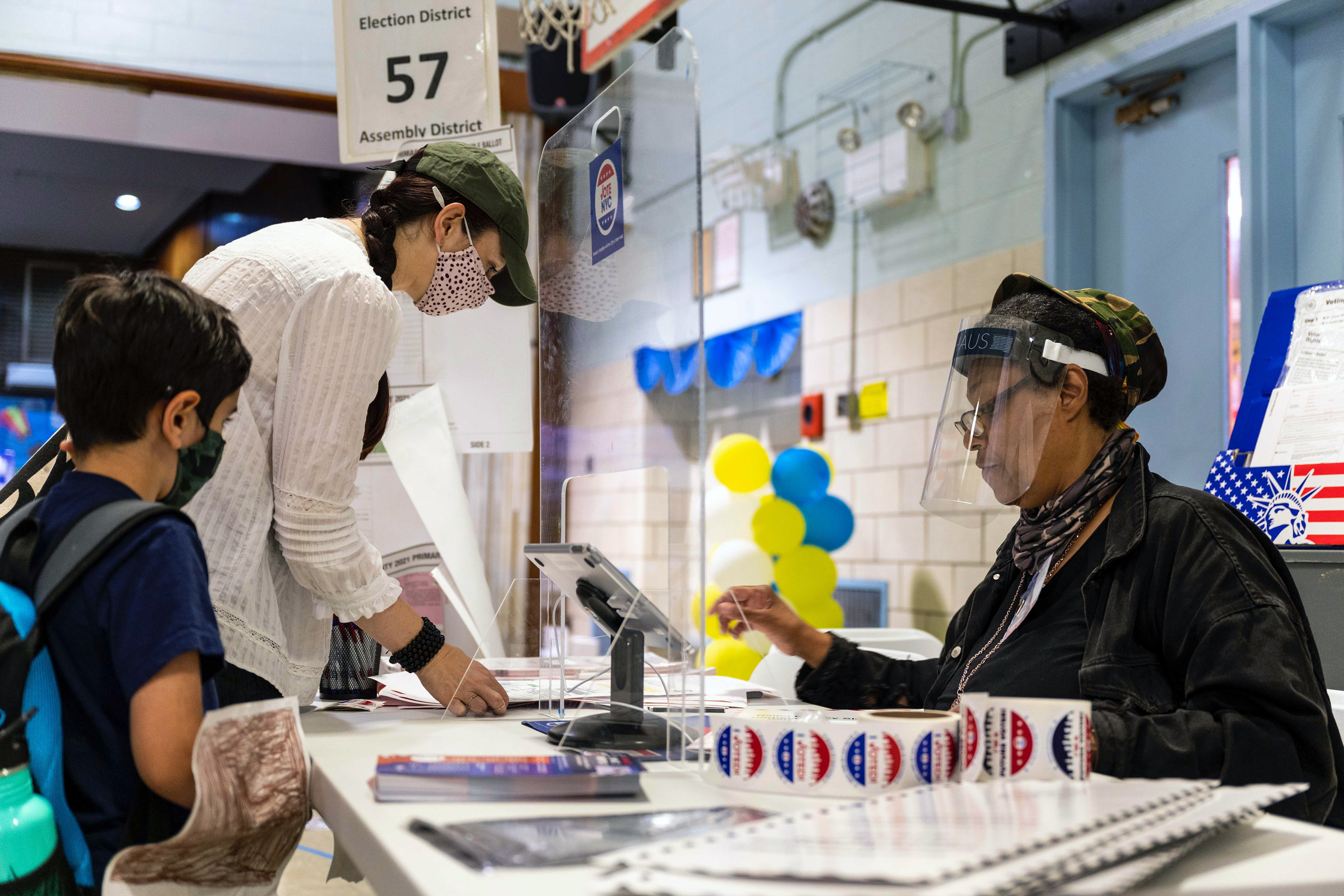 Brooklyn residents vote at P.S. 316 in Prospect Heights on primary day, June 22, 2021.