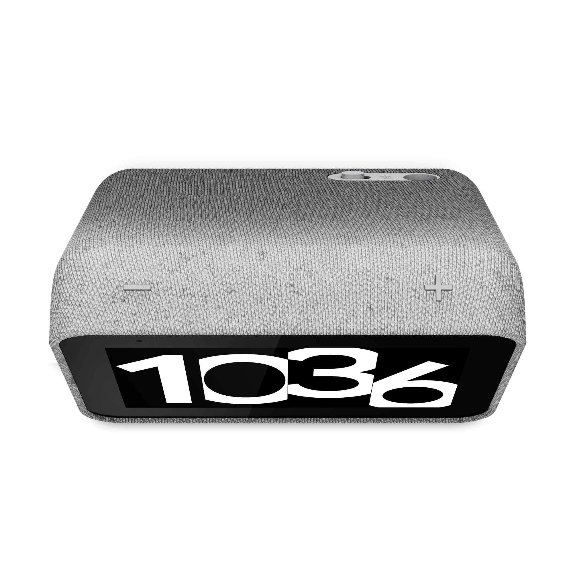 The Lenovo Smart Clock 2 seen from above on a white background. The screen displays the time 10:36.
