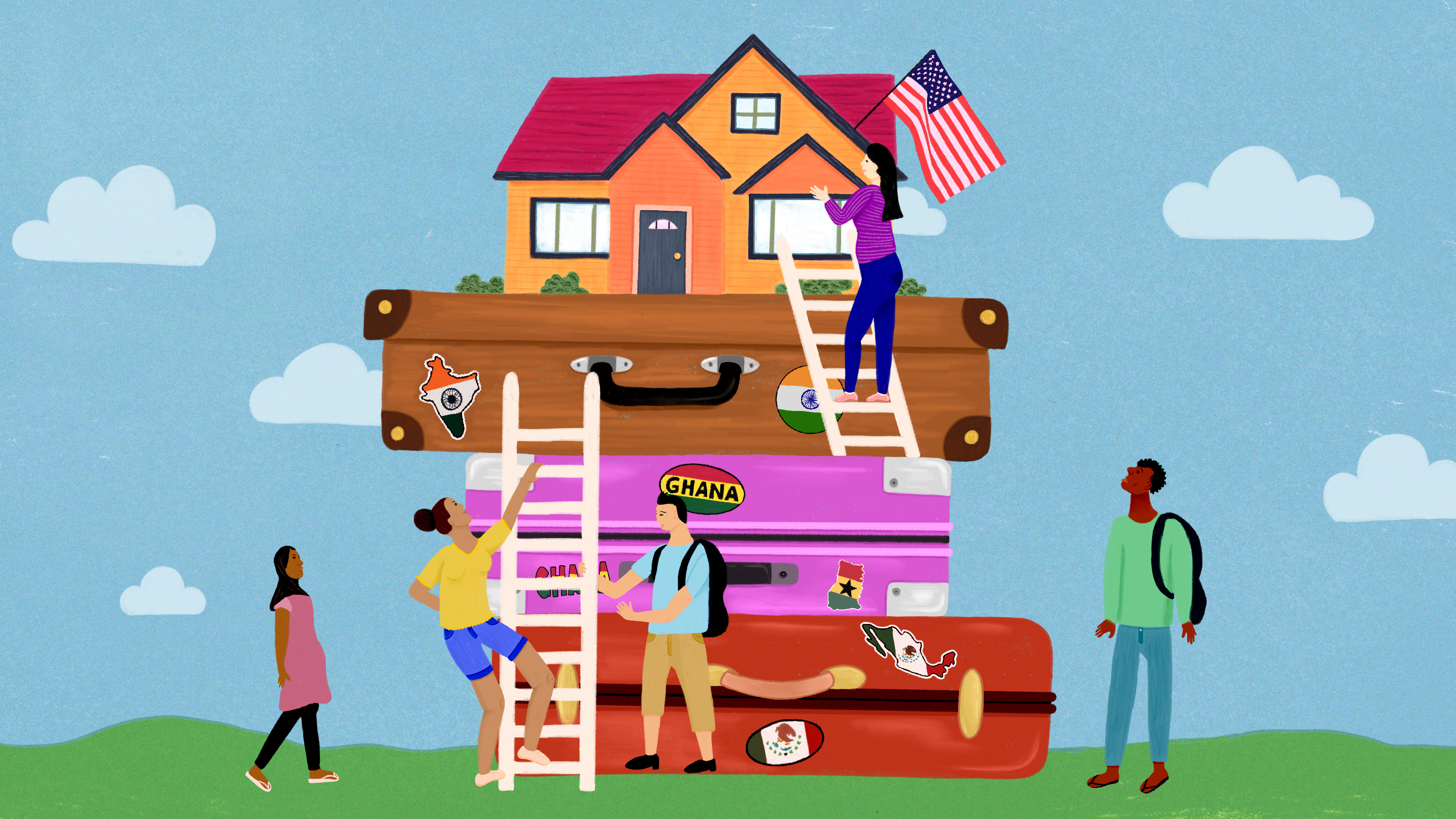 Immigrants from all over the world climb up a set of suitcases to reach a house with an American flag