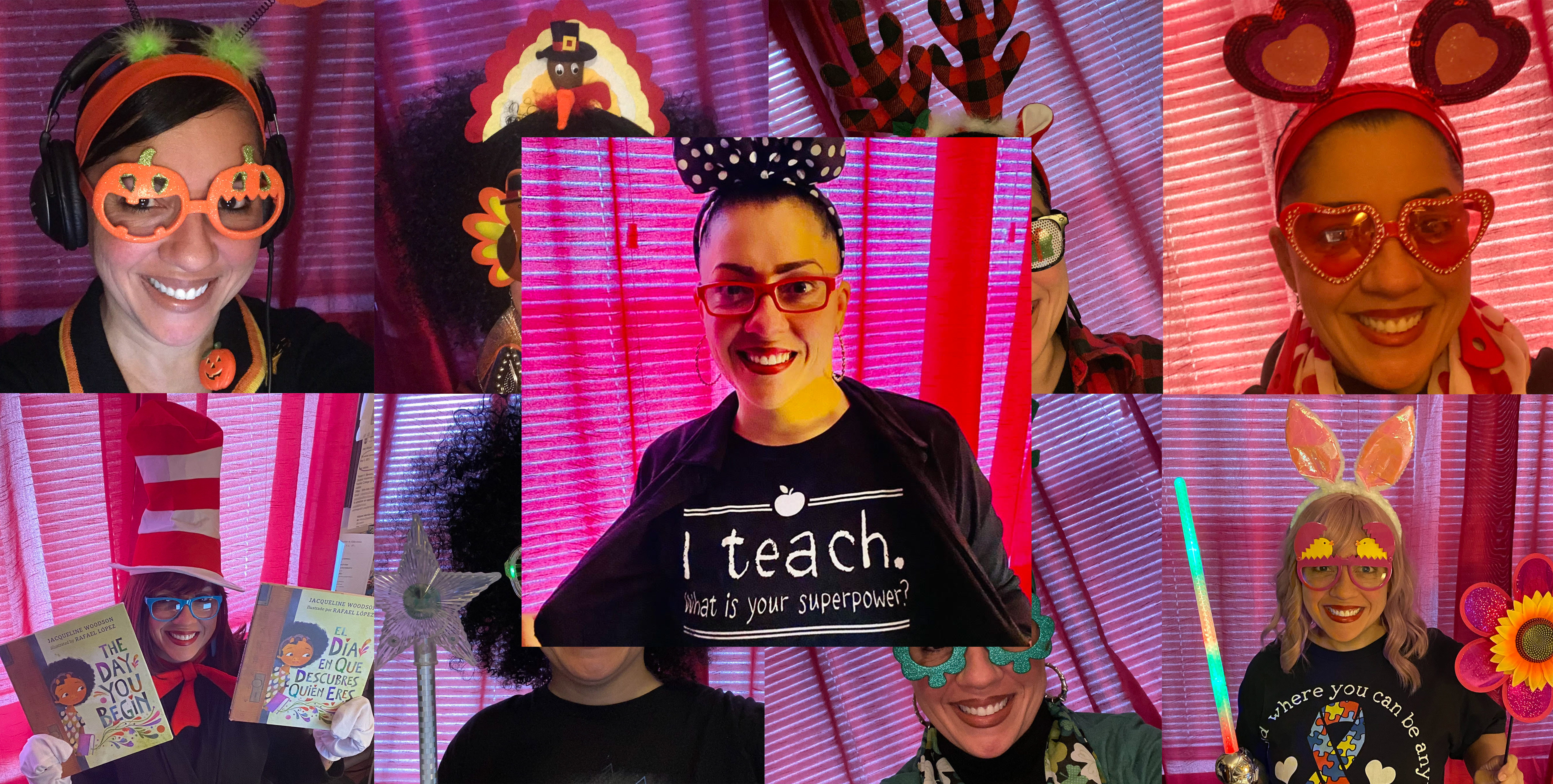 A multi-photo collage of Newark teacher Milybet Montijo-Cepeda, who uses a variety of outfits to engage her students.