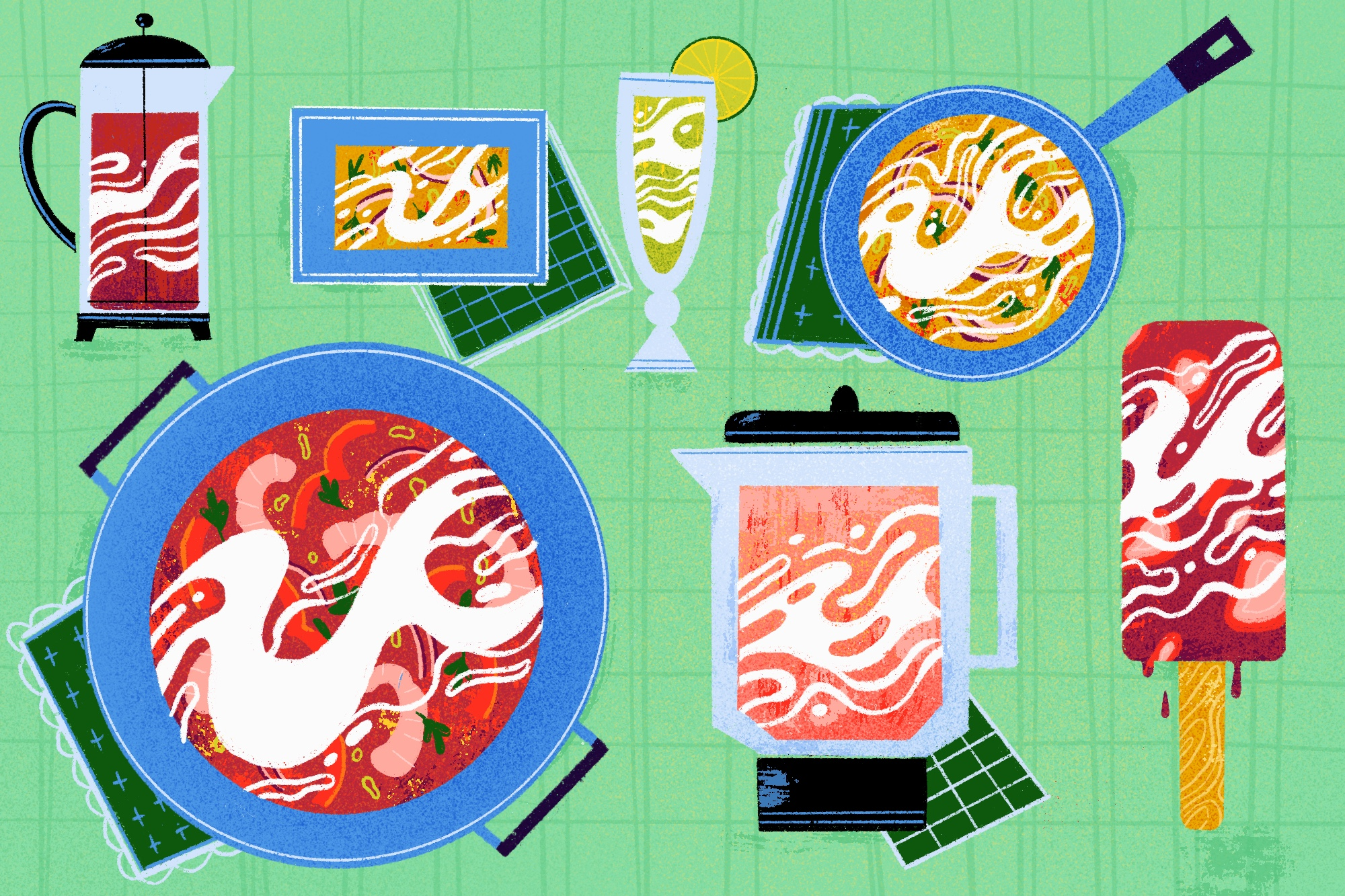 An illustration showing swirls of coconut milk in different forms against a light green background: in a pot of red stew; in a blender full of pink liquid; in a red popsicle; in coffee in a coffee carafe; in a skillet of yellow curry; in a green drink; in a rectangular yellow dish.