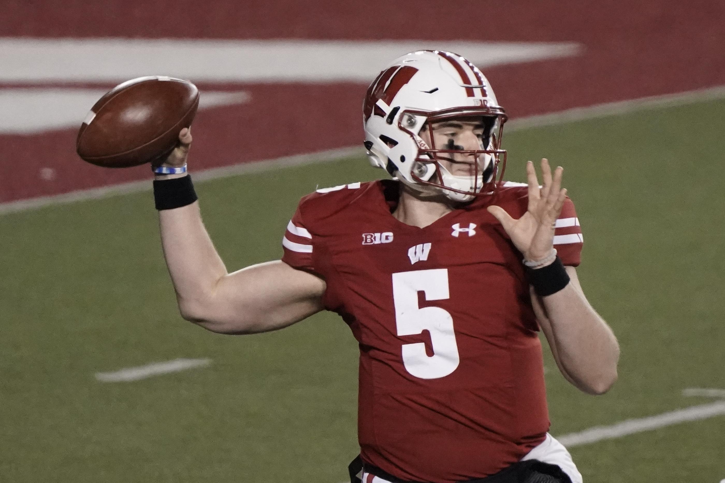 Wisconsin's Graham Mertz throws a pass.