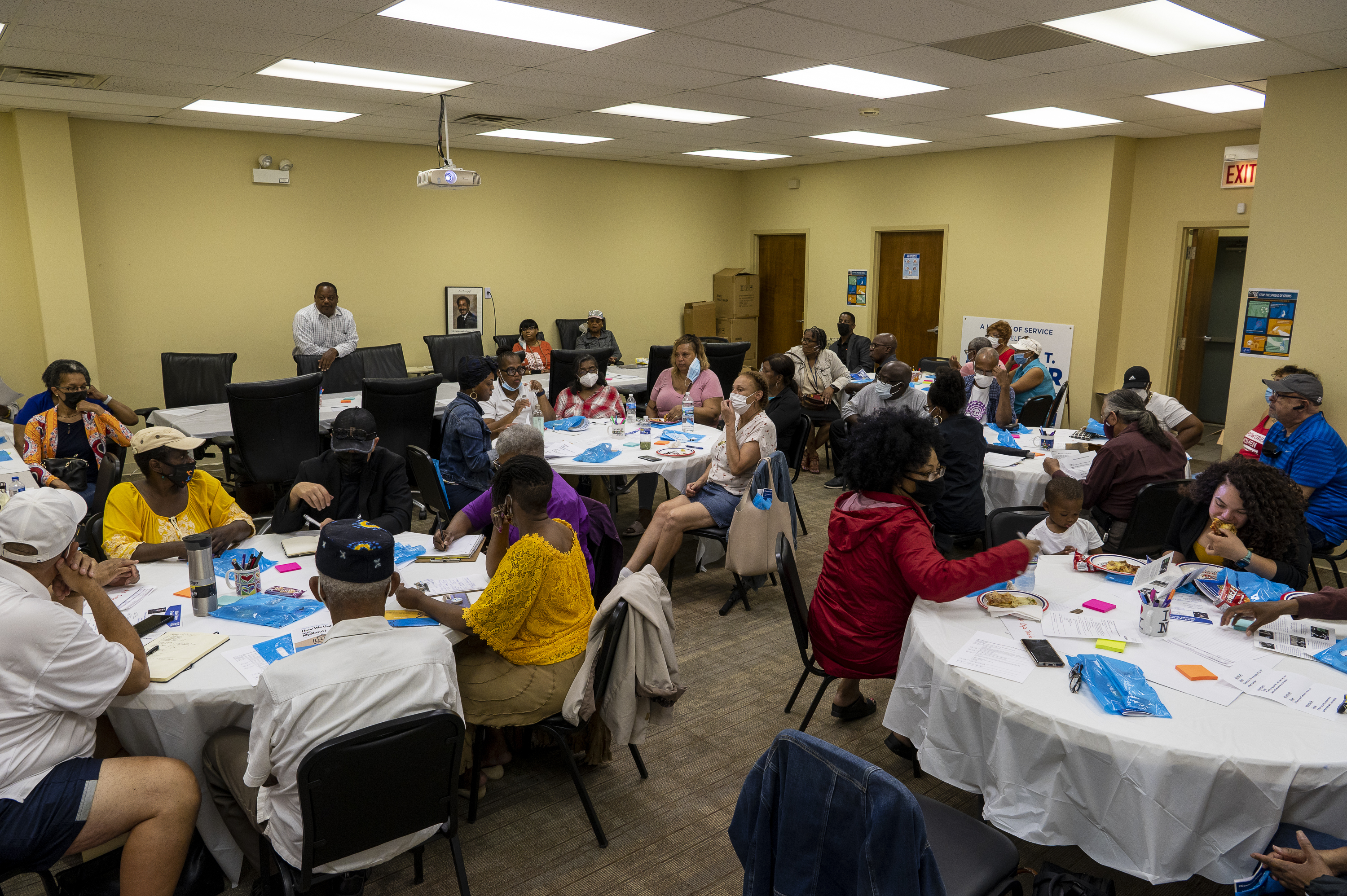 Ald. Roderick Sawyer (6th) discussed drones to fight crime with about 50 constituents gathered in his South Side office Monday night to consider public safety ideas.