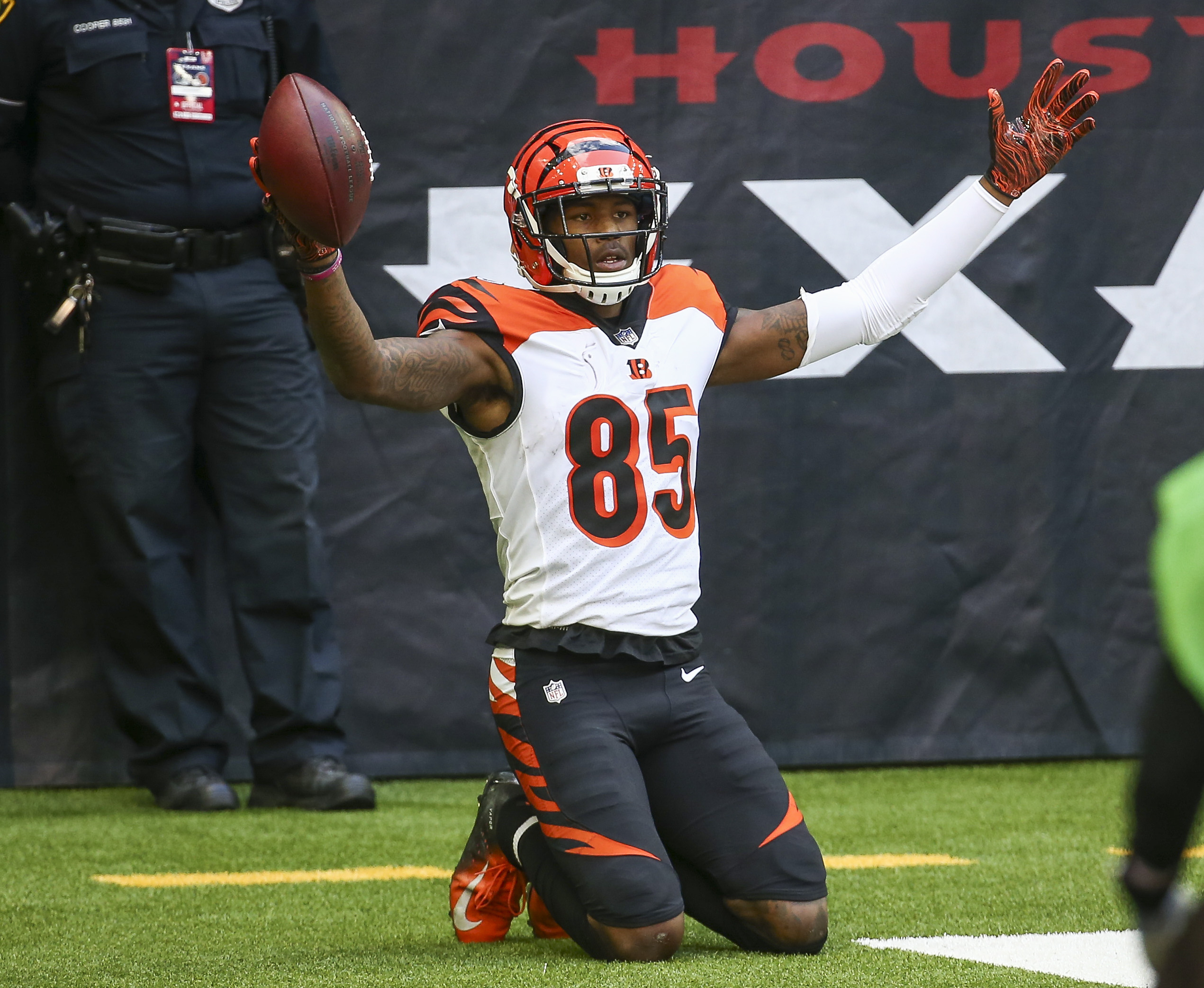 Cincinnati Bengals wide receiver Tee Higgins (85) reacts after making a reception for a touchdown against the Houston Texans during the third quarter at NRG Stadium.