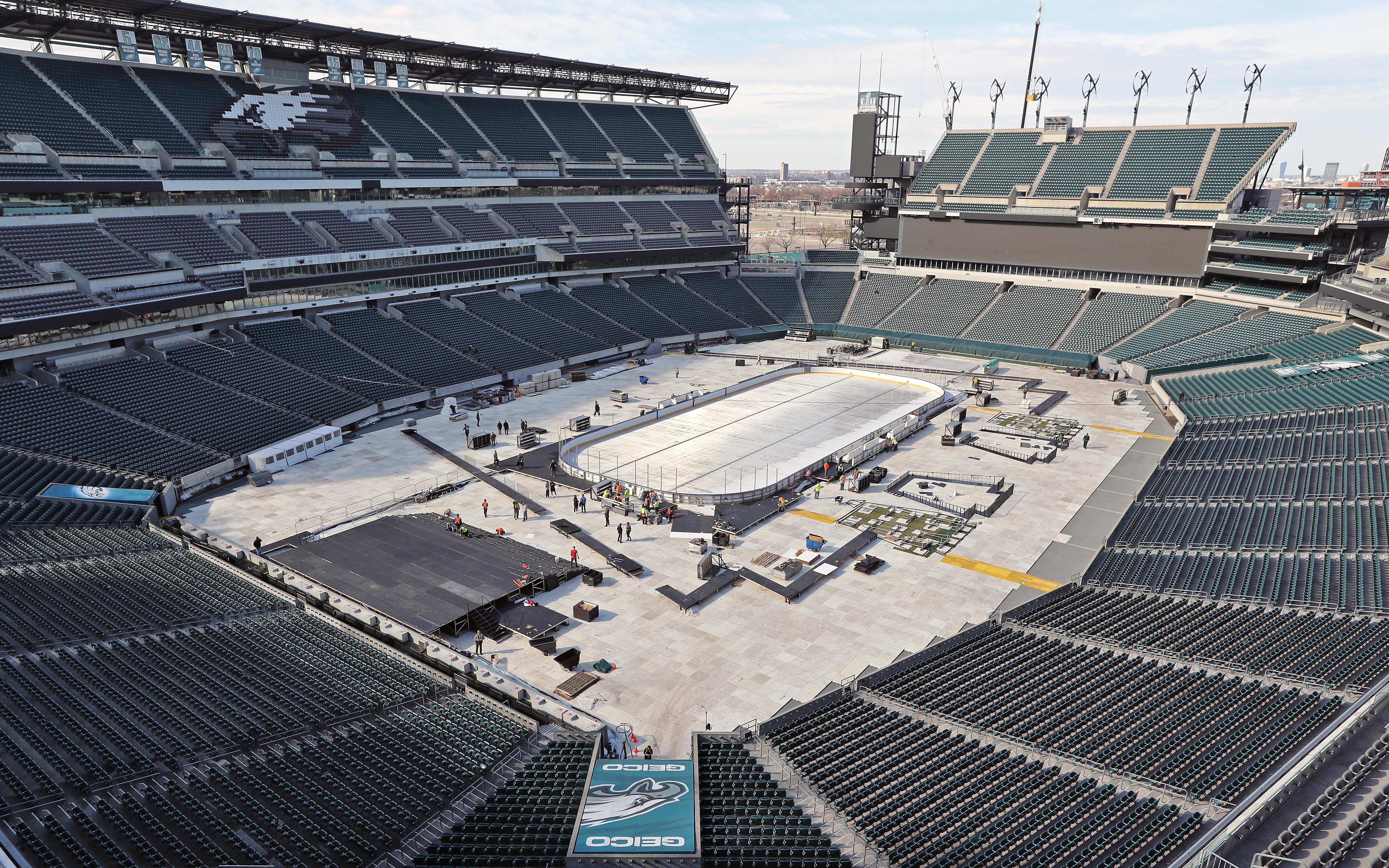 2019 Coors Light NHL Stadium Series - Rink Build Out