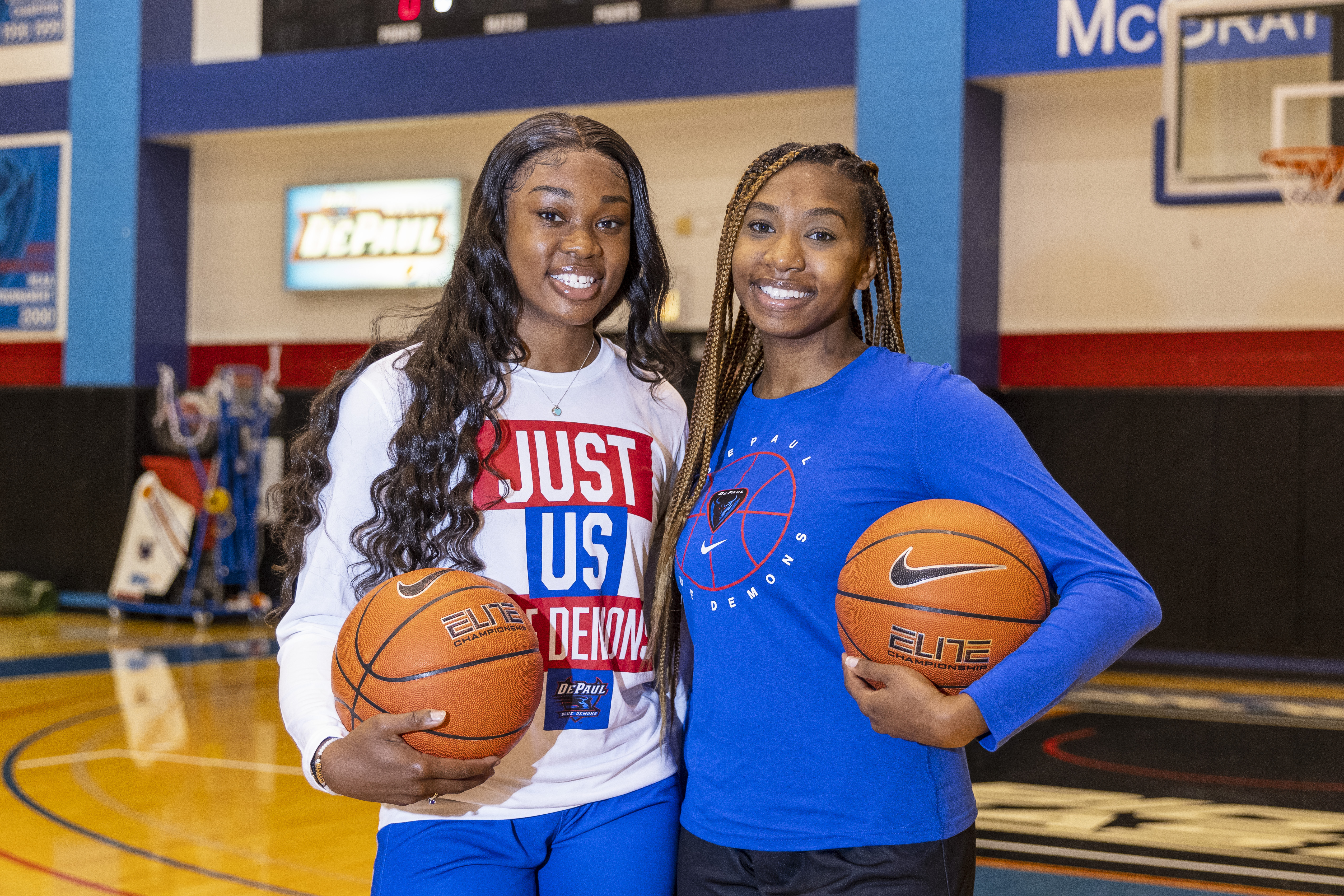 Basketball players with the DePaul Blue Demons women's basketball program and sisters, Aneesah Morrow, left, and Nazlah Morrow, right, pose for a portrait at the Sullivan Athletic Center at 2323 N. Sheffield in Sheffield Neighbors, Tuesday, June 29, 2021.   Anthony Vazquez/Sun-Times