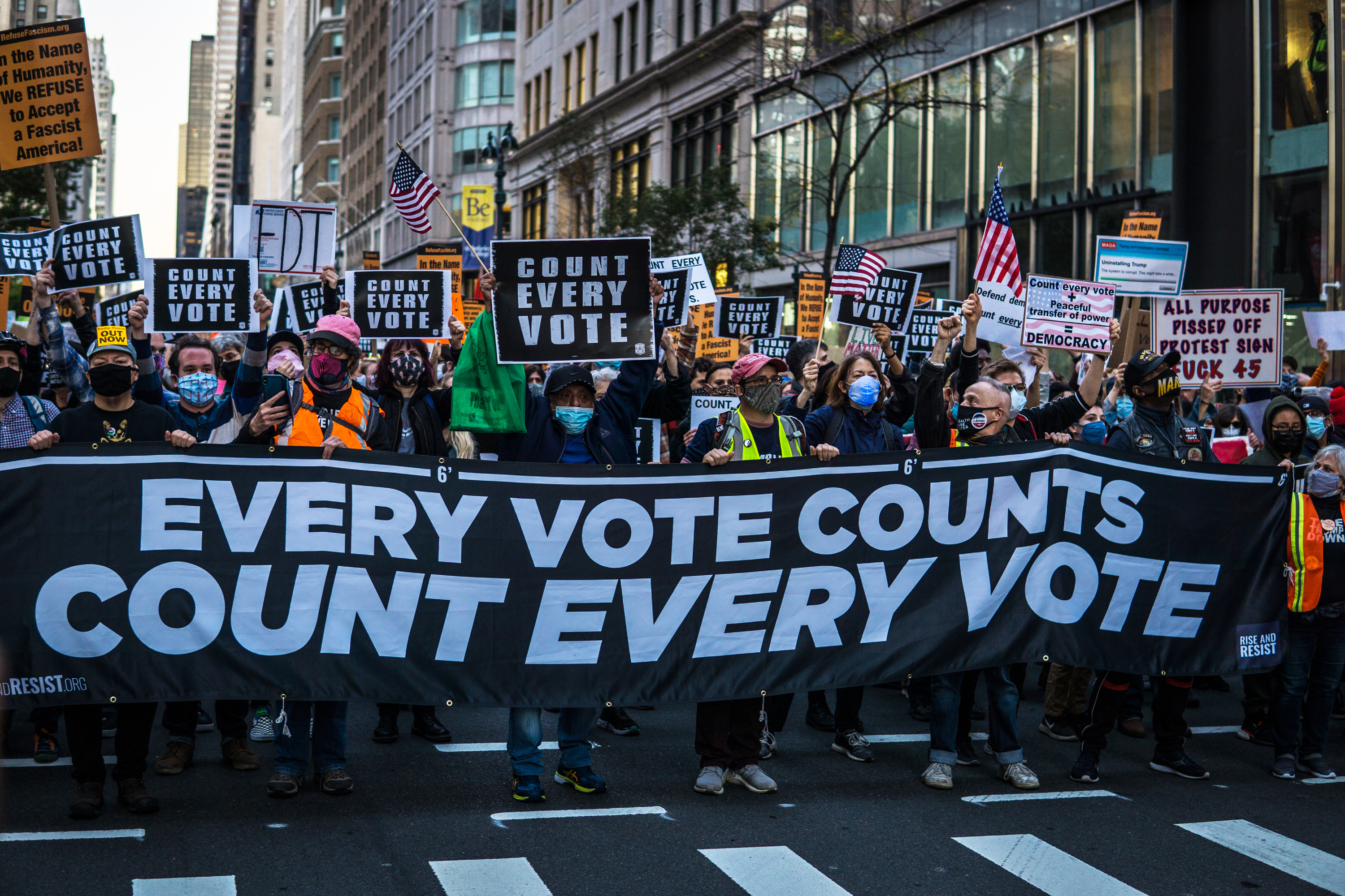 Protesters march through Manhattan demanding every vote counted in the 2020 election, Nov. 4, 2020.