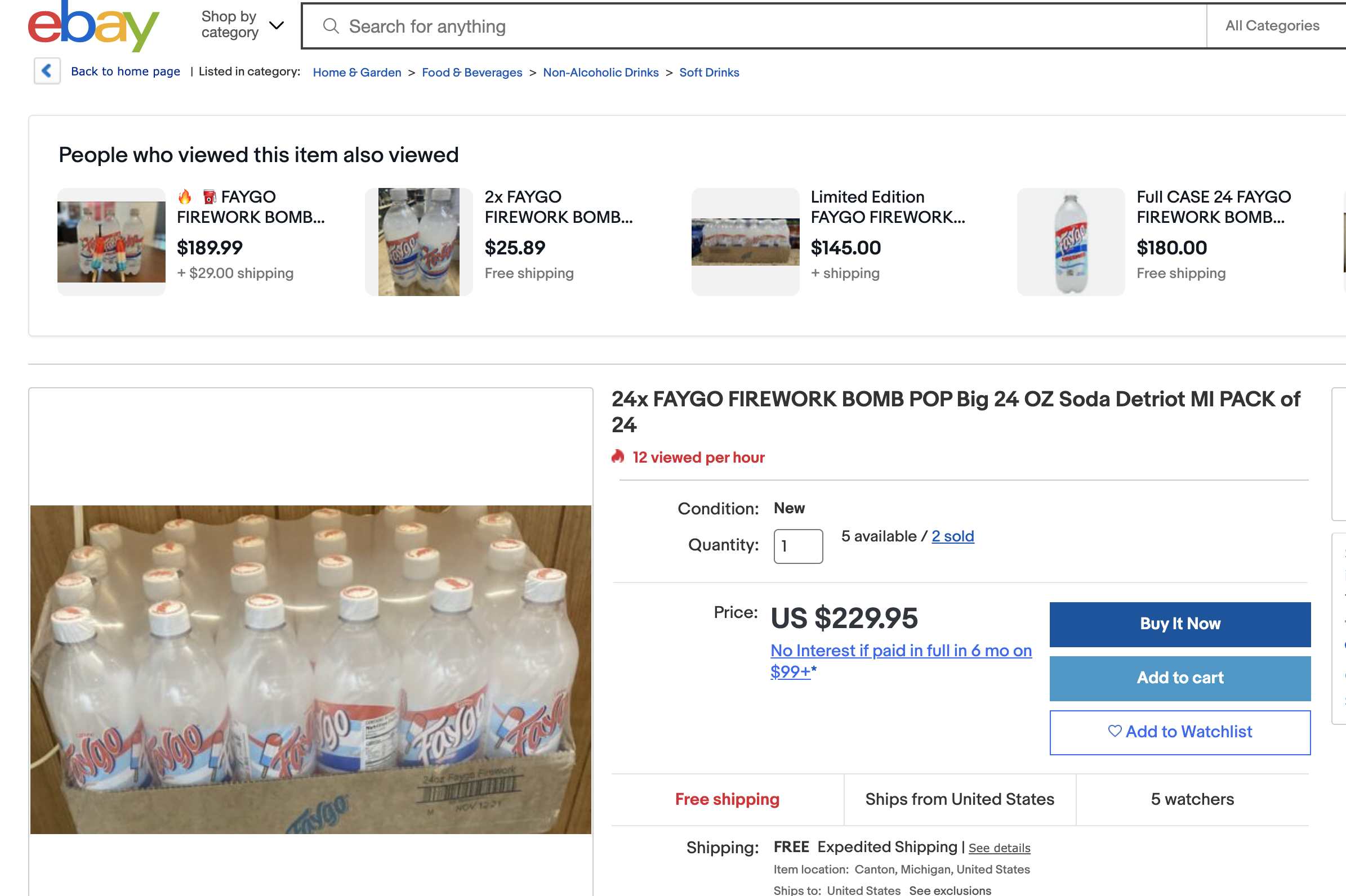 A screenshot of a case of Faygo on eBay for $229.95.